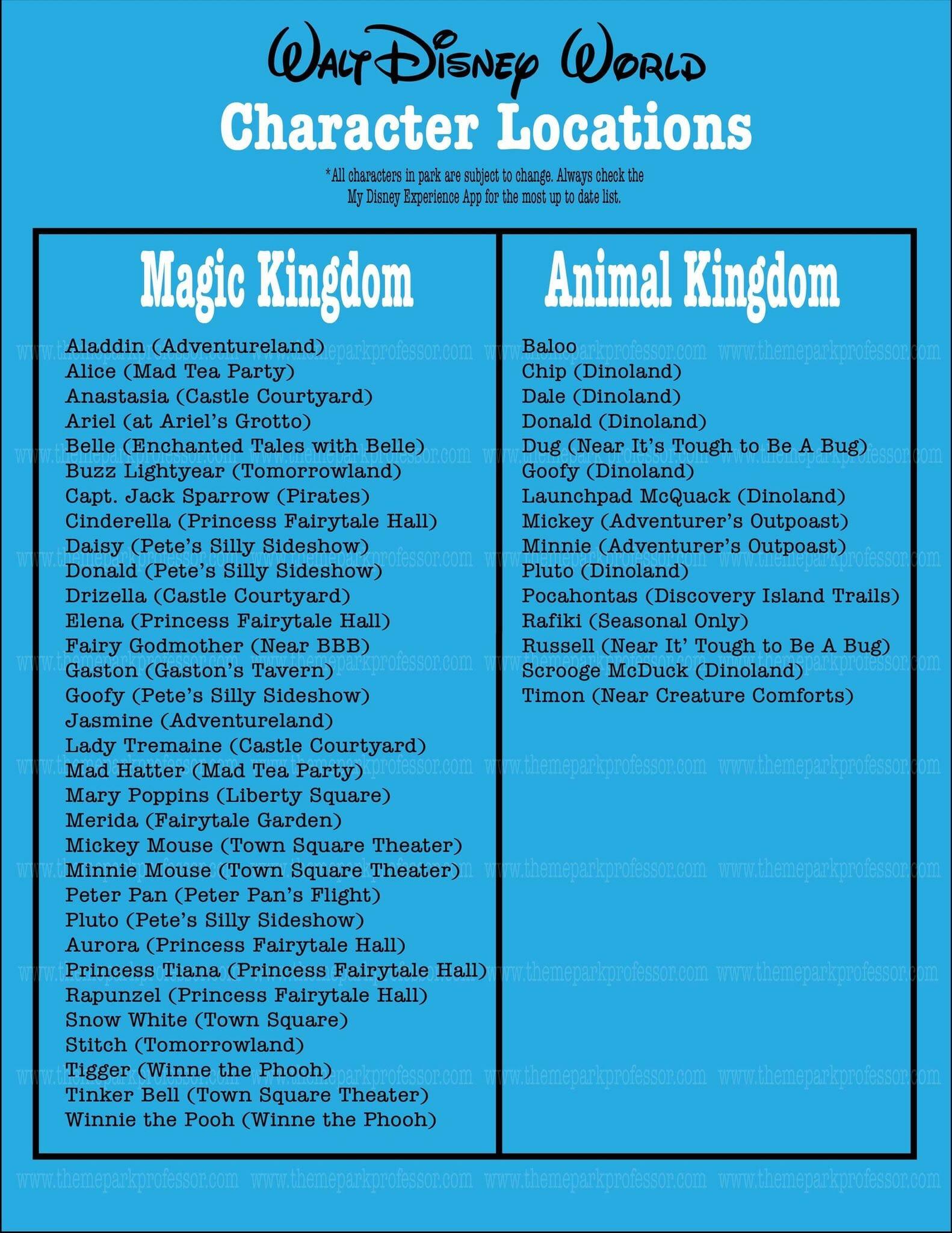 Walt Disney World Printable Character Guide - Theme Park