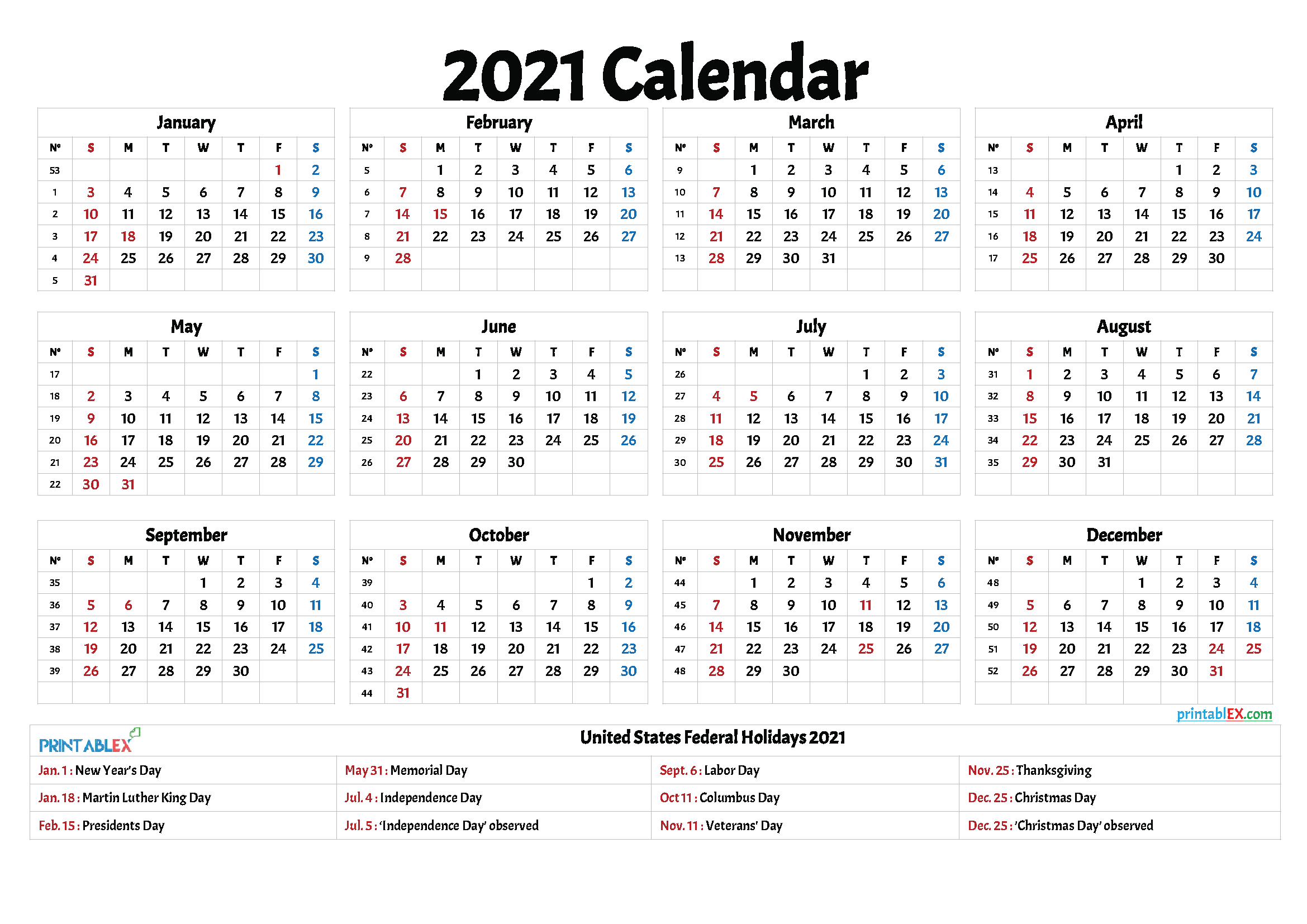 Yearly Calendar 2021 With Federal Holidays