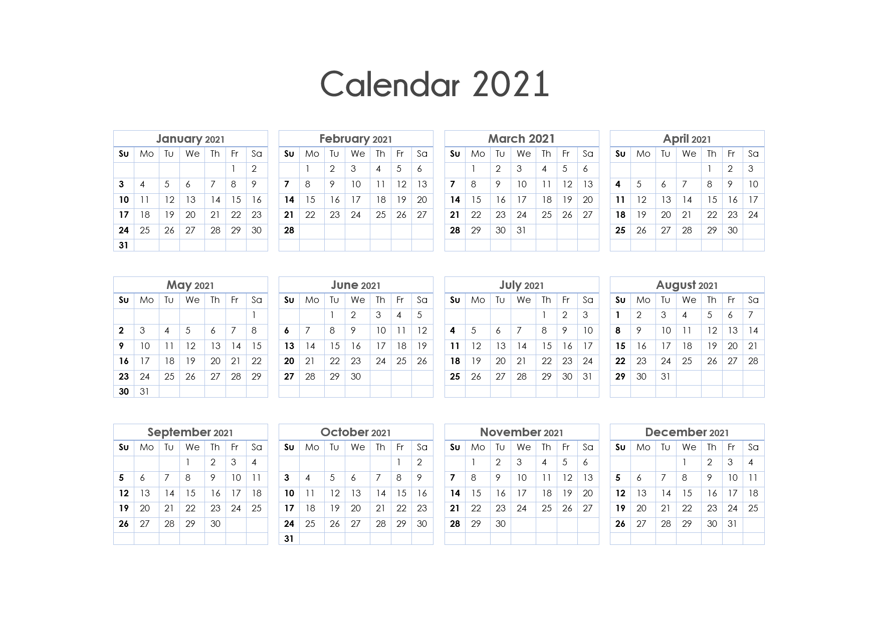 Yearly Printable Calendar 2021