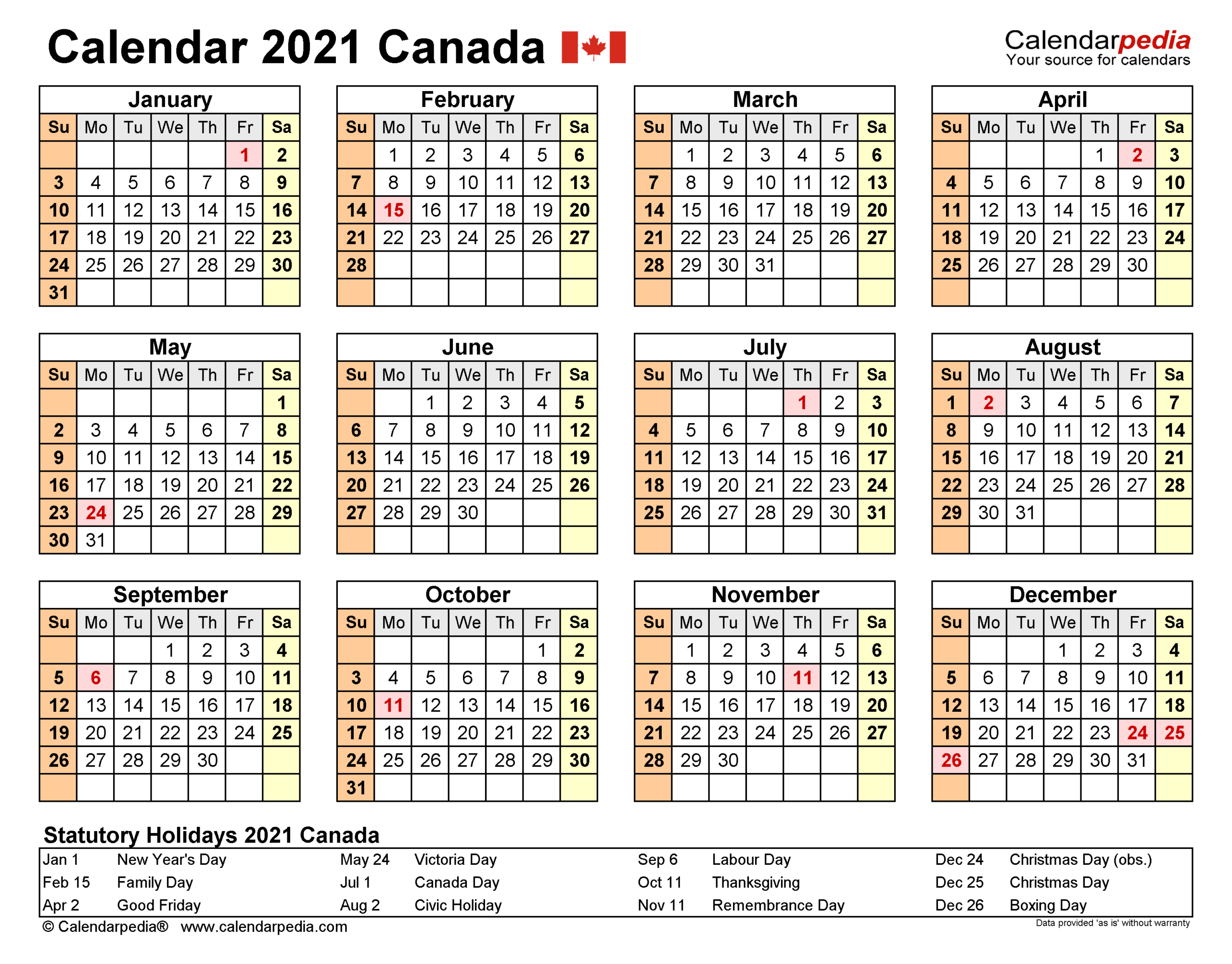 2021 Calendar Canada With Holidays Printable