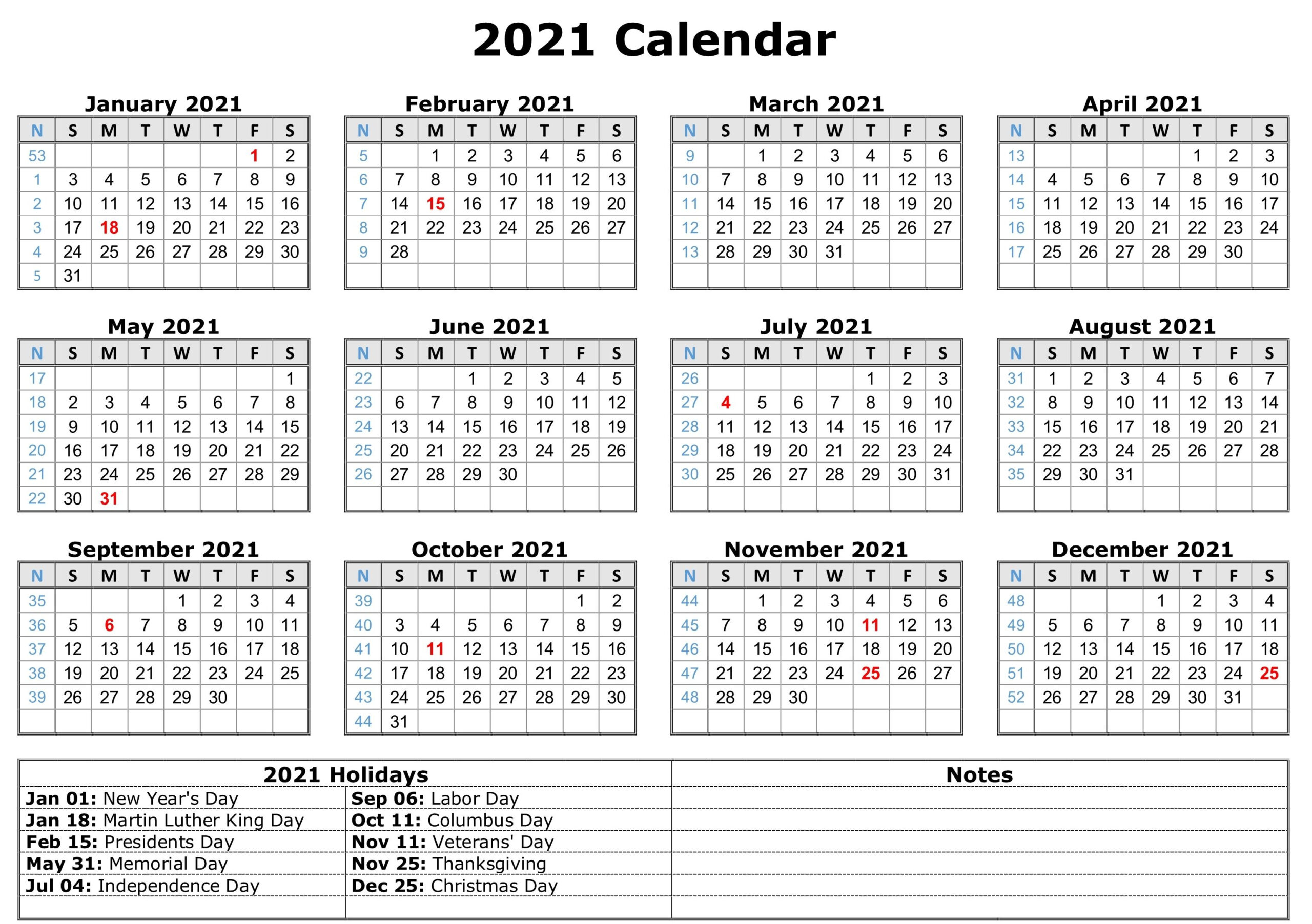 2021 Calendar Printable With Federal Holidays