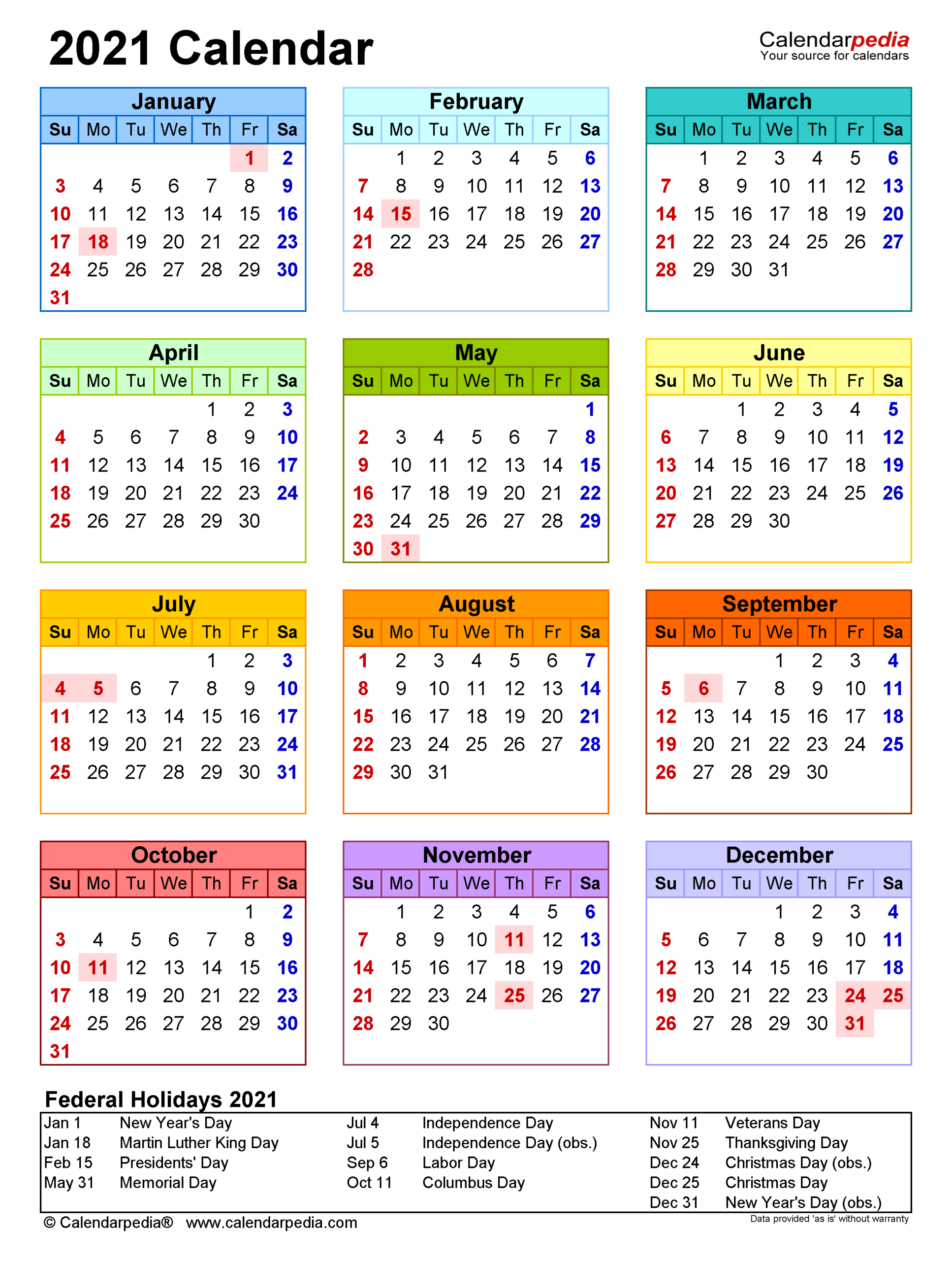2021 Calendar Printable With Federal Holidays