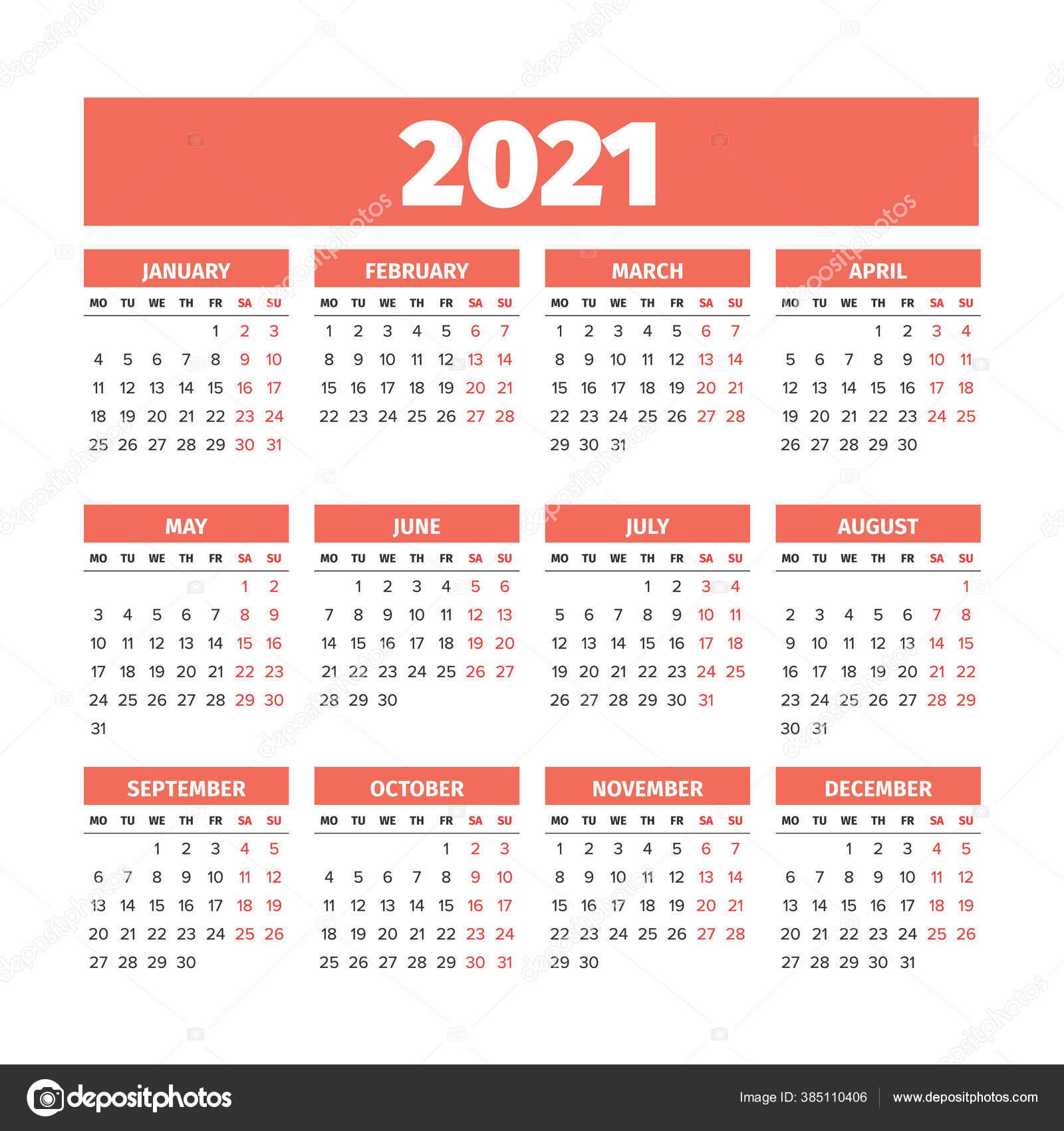 2021 Календарь С Неделями Начинается В Понедельник — Вектор