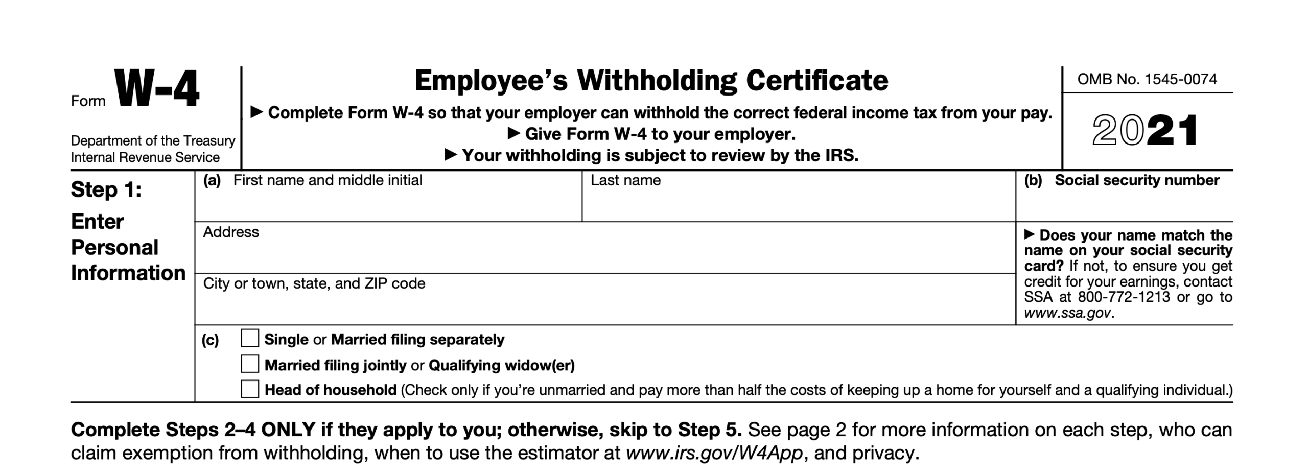 2021 Irs Form W-4: Simple Instructions + Pdf Download