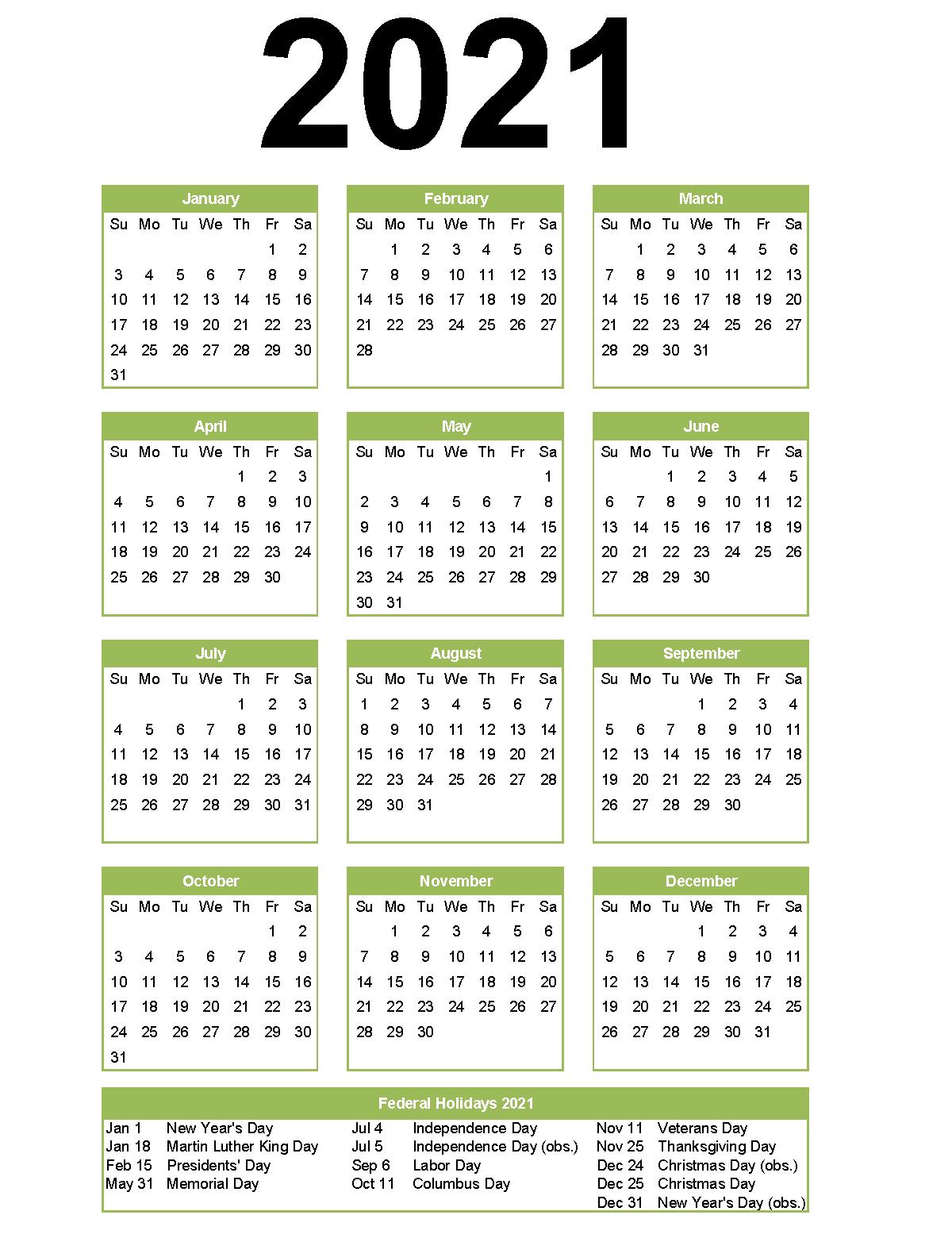 2021 Portrait Holidays Calendar