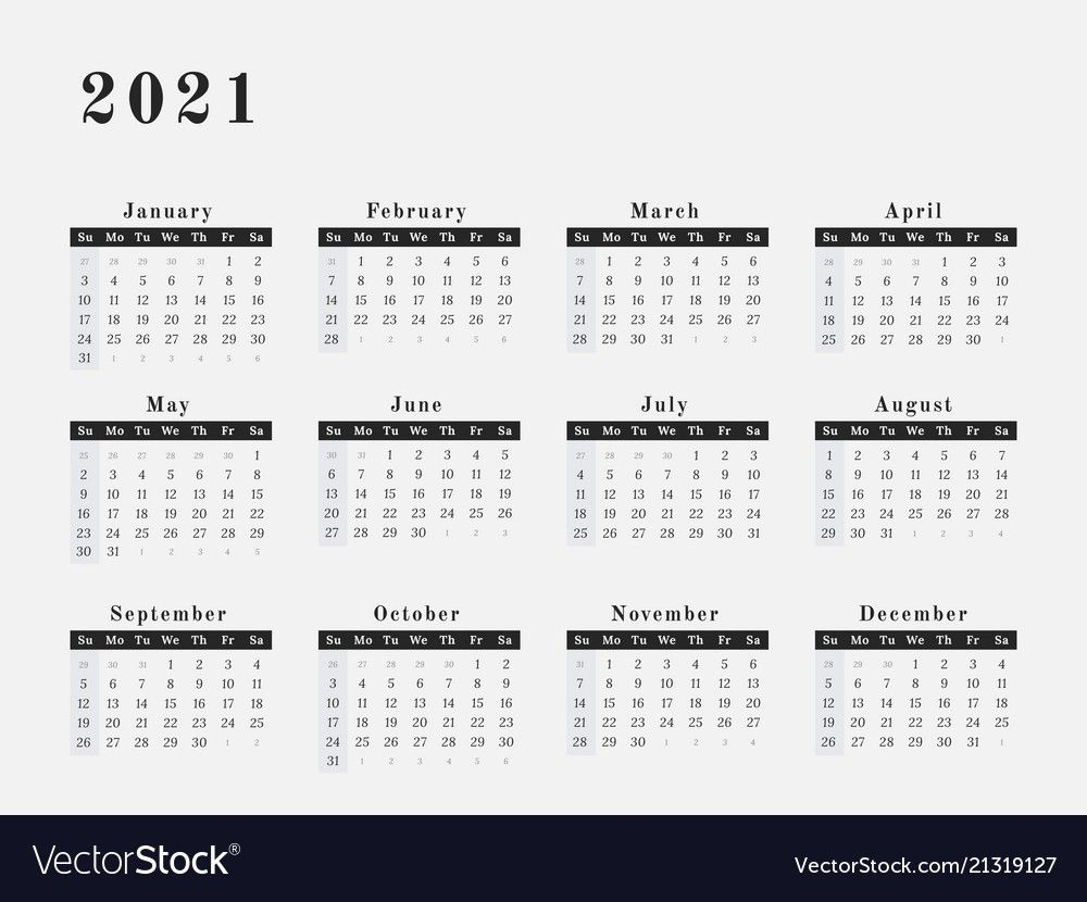2021 Yearly Calendar Printable Horizontal – Delightful To My