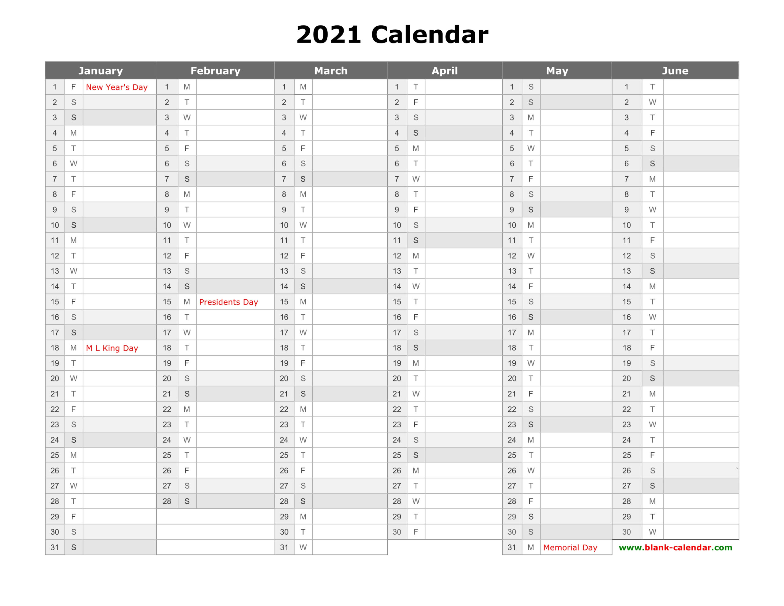 6 Month Calendar 2021 Printable Free
