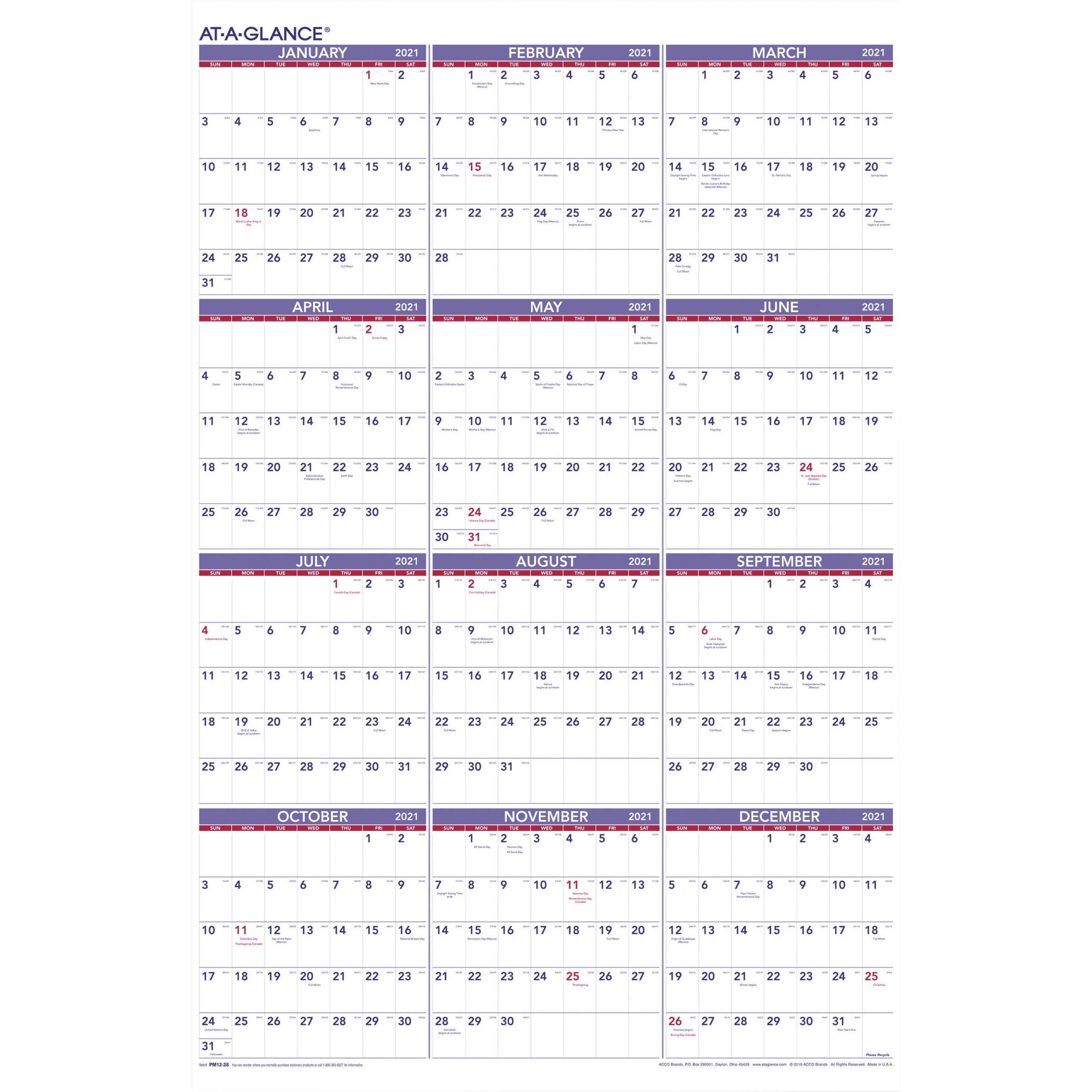 At-A-Glance Yearly Wall Calendar