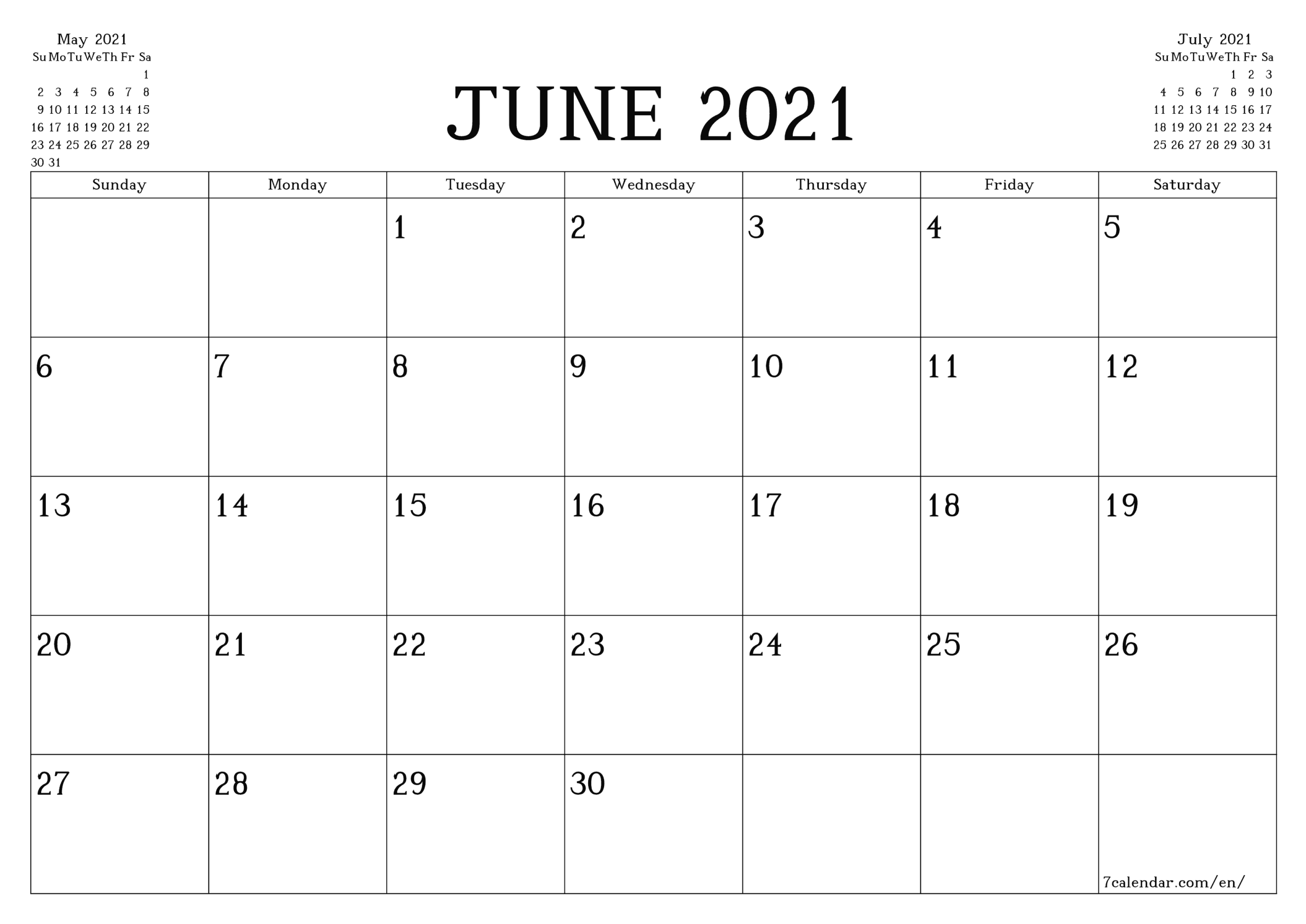 Calendar Iunie 2021