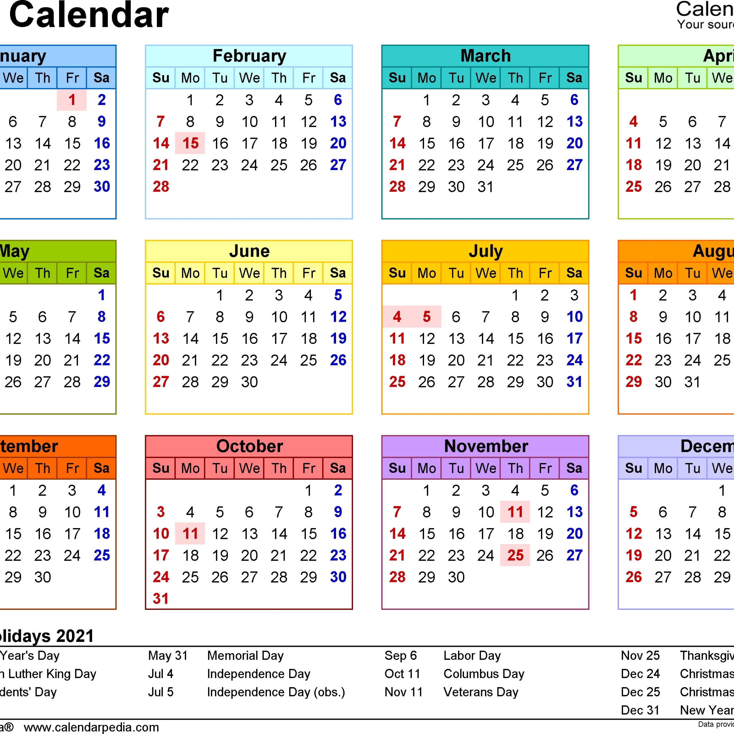 Calendar Printables, Excel