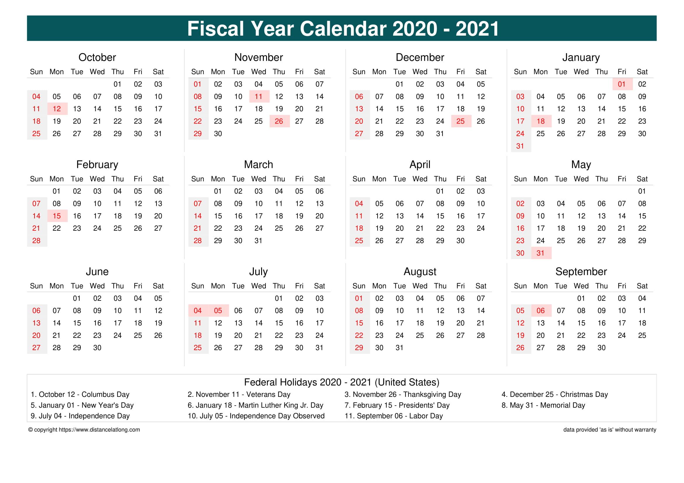 Calendar United States 2021