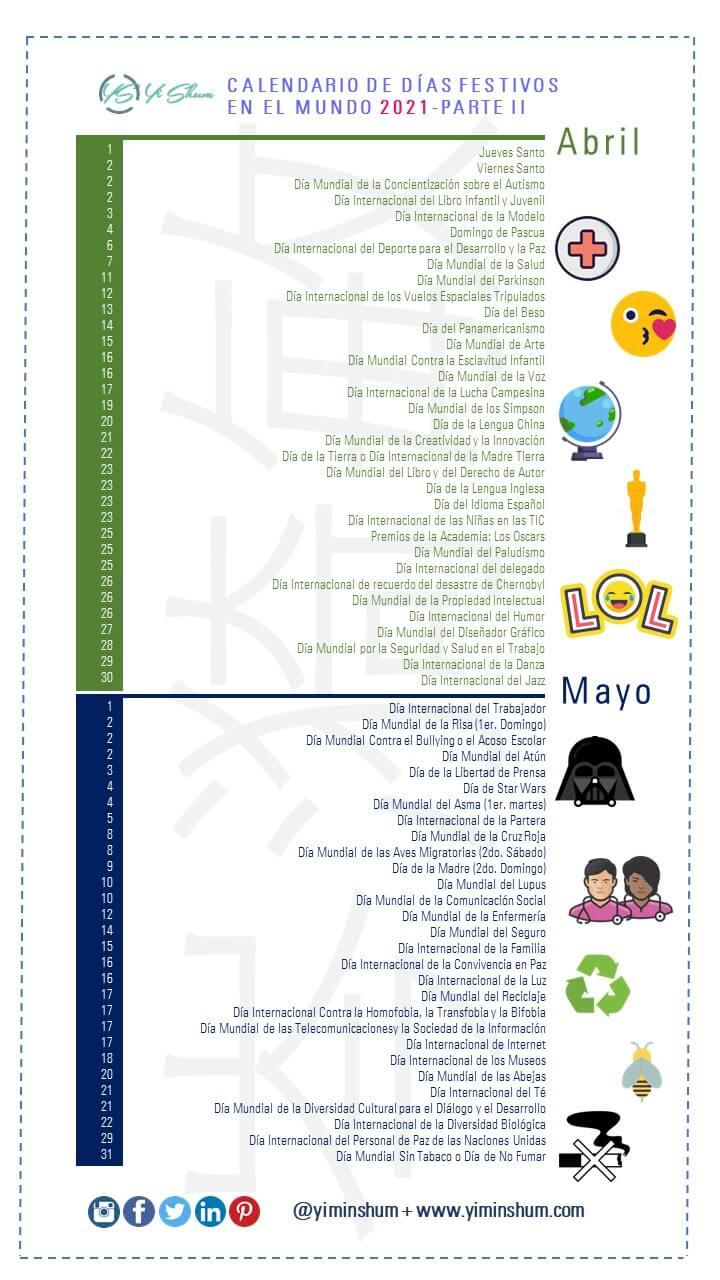 Calendario 2021: Días, Fechas Y Efemérides Mundiales E