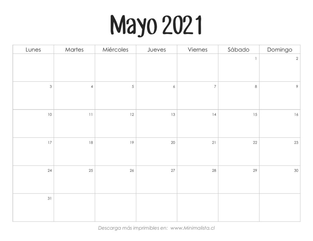 Calendarios 2021 Para Imprimir - Minimalista