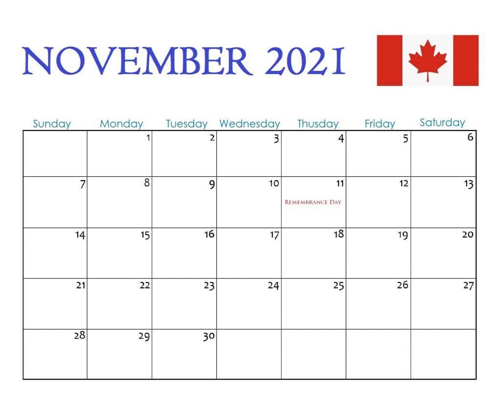 Canada November 2021 Holidays Calendar