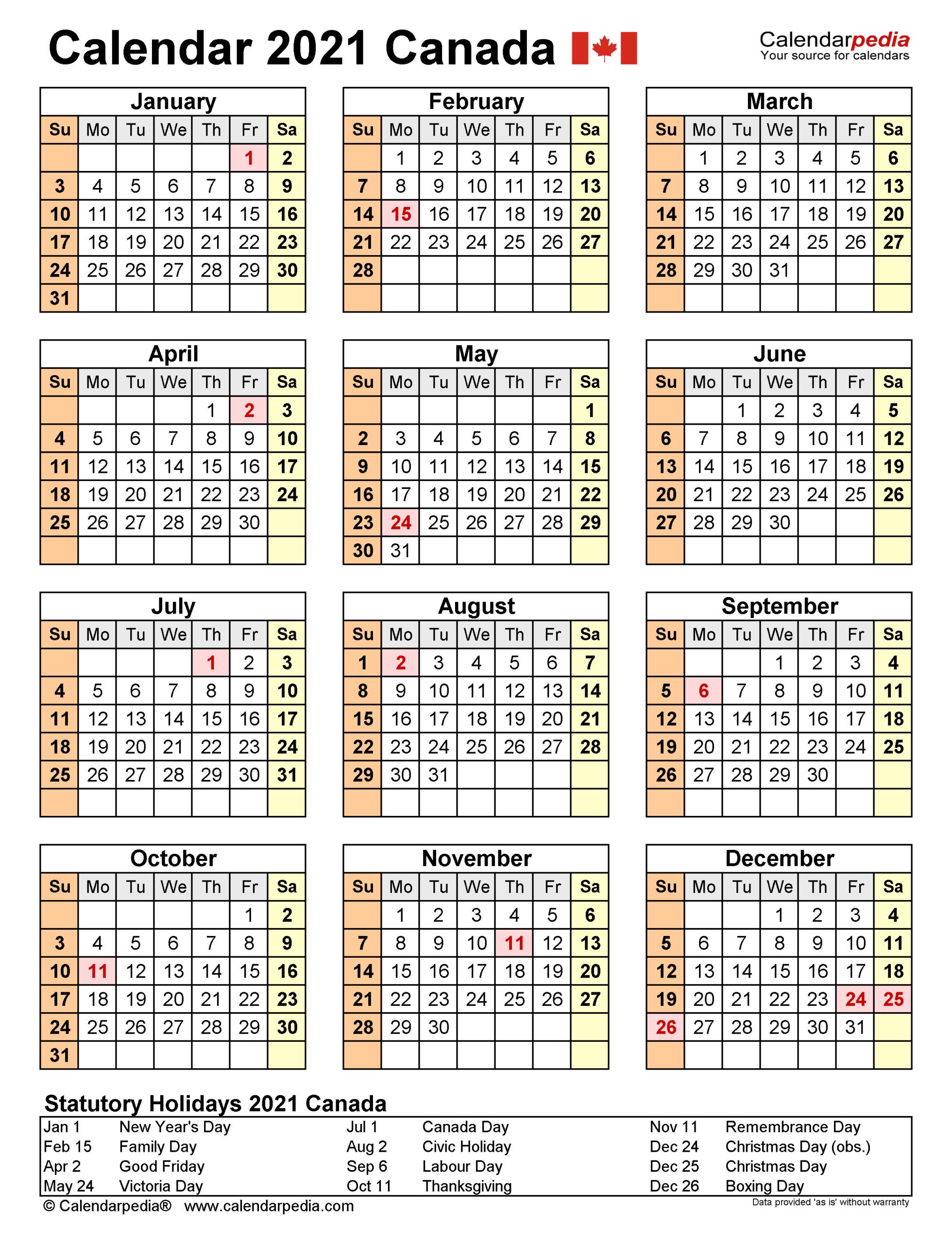 Canadian Statutory Holidays 2021