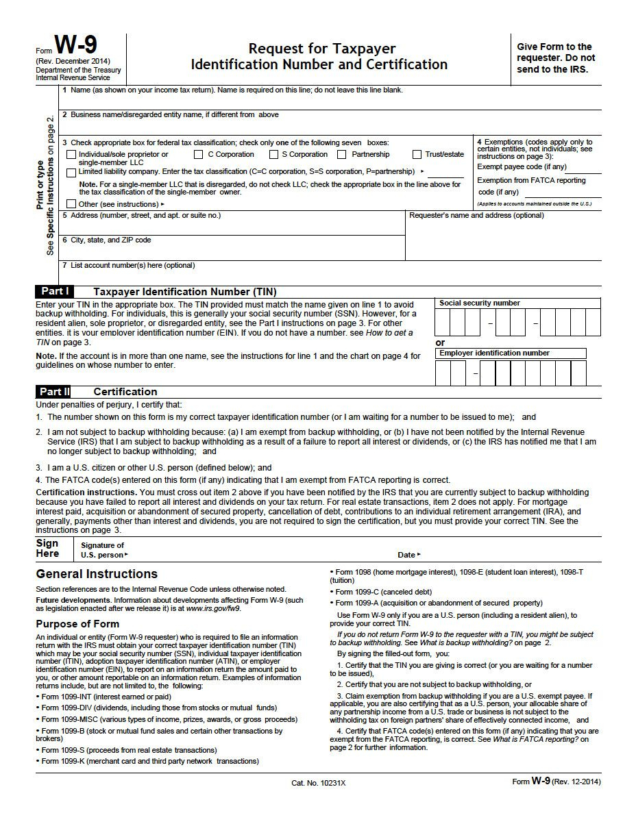 Downloadable W9 Tax Form Property Management Forms
