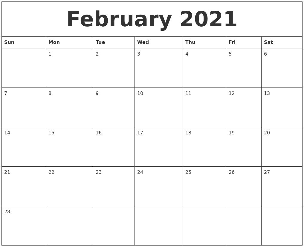 February 2021 Calendar, March 2021 Printable Calendar