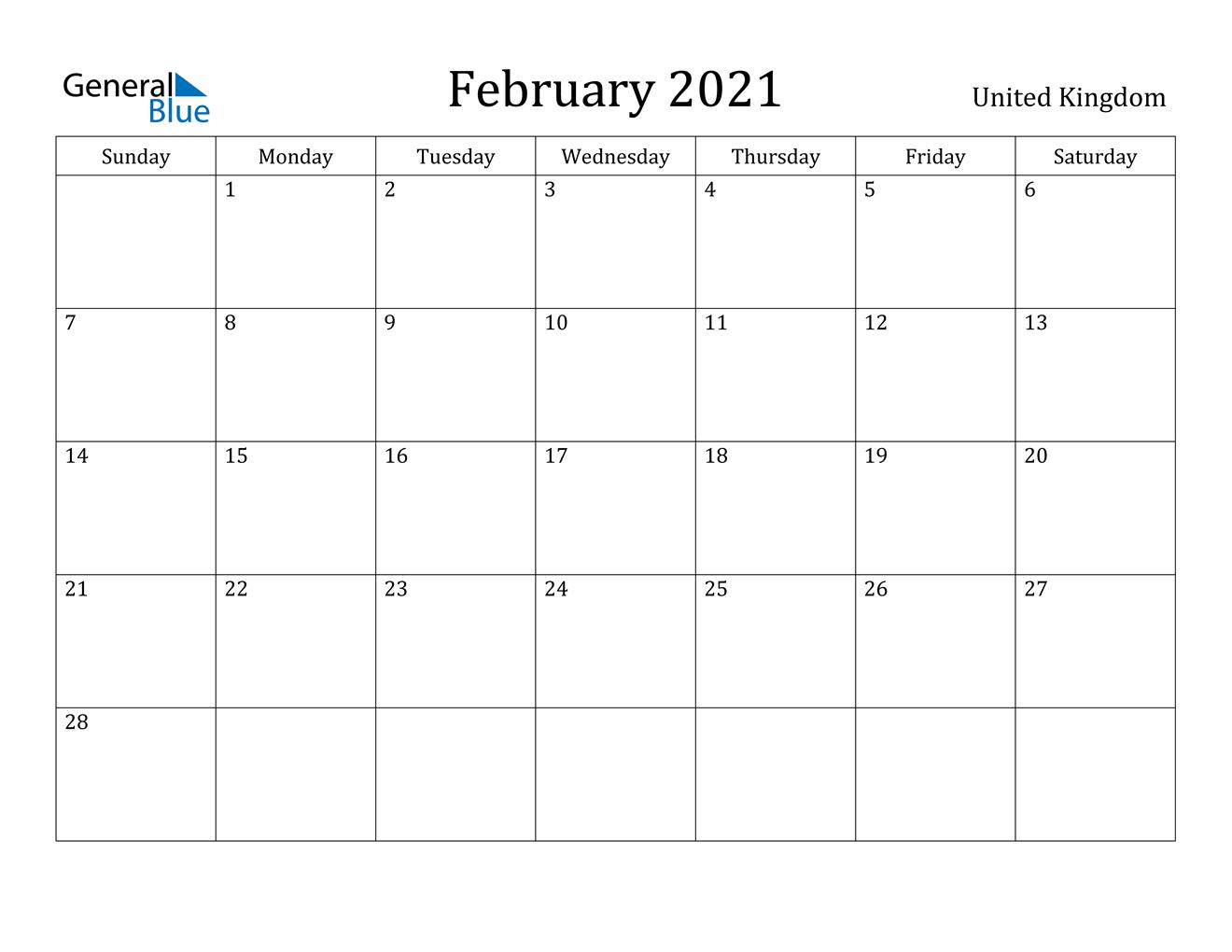 February 2021 Calendar - United Kingdom