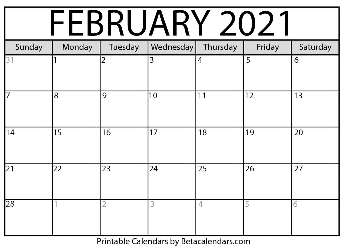 February 2021 Free Printable Calendars Without Downloading