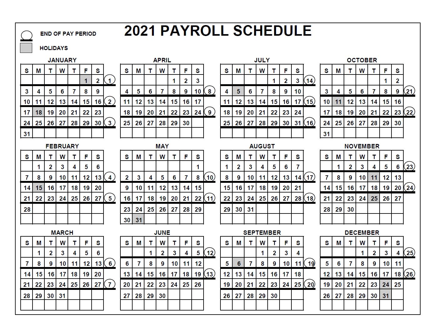 Federal Government 2021 Payroll Calendar