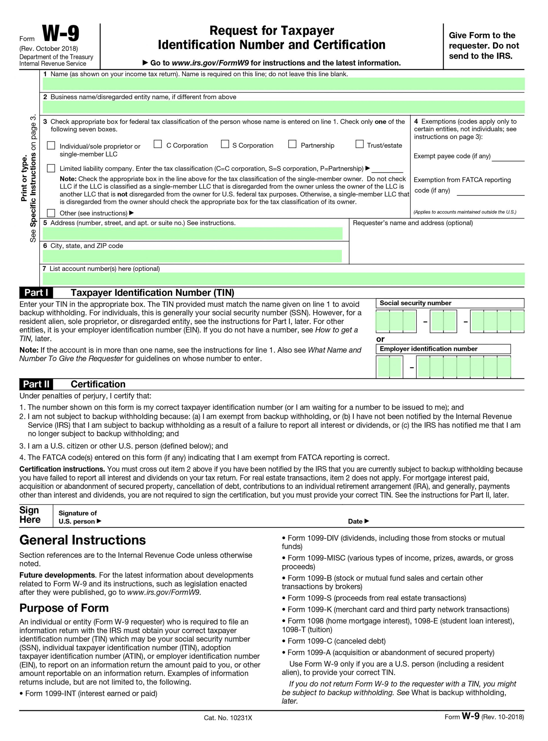 Filling Irs Form W-9 - Editable, Printable Blank