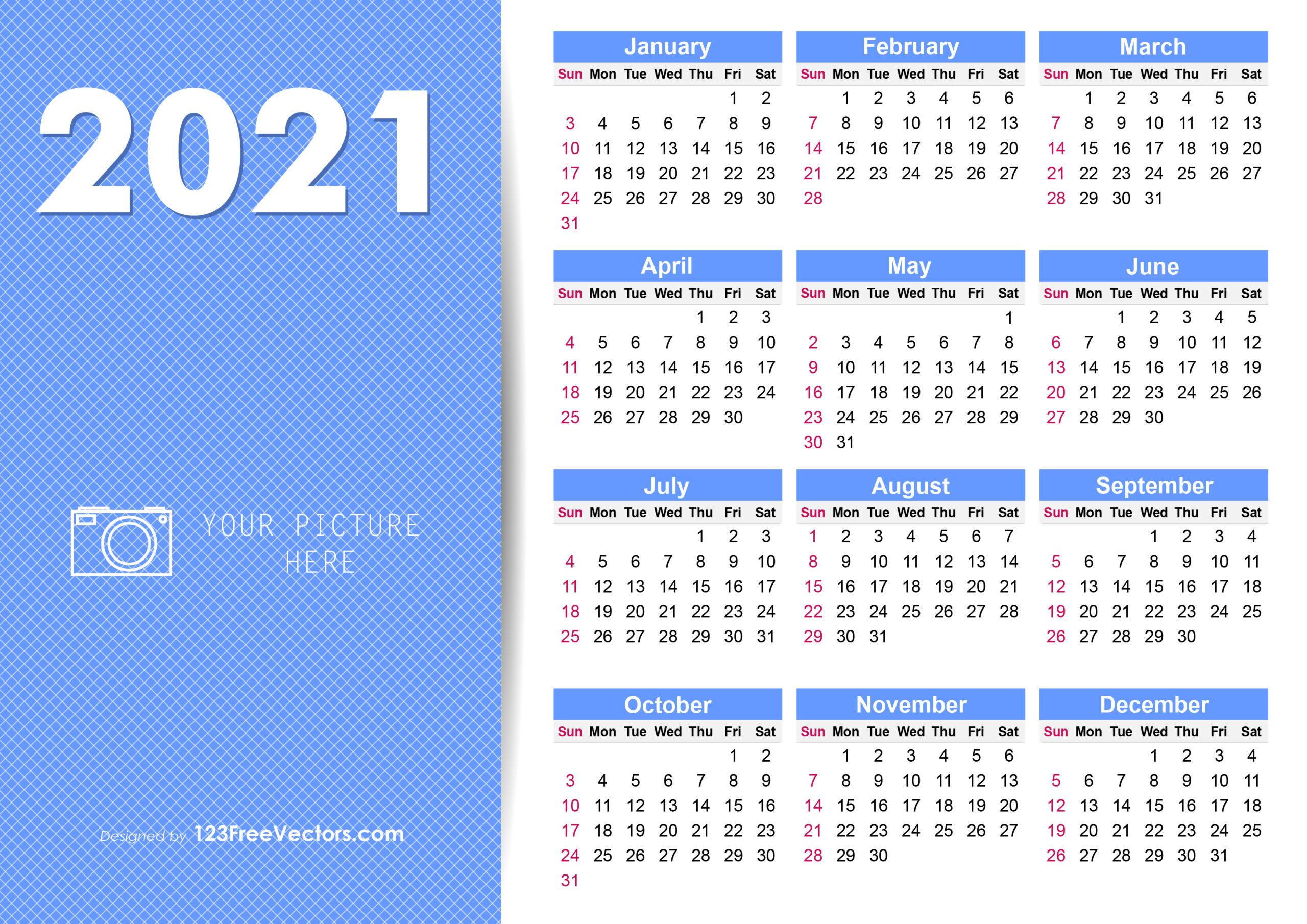 Free 2021 Yearly Calendar