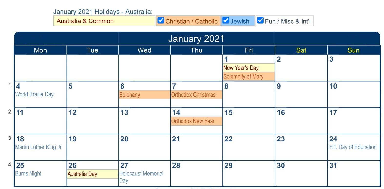 Free January 2021 Calendar Australia Template With Holidays