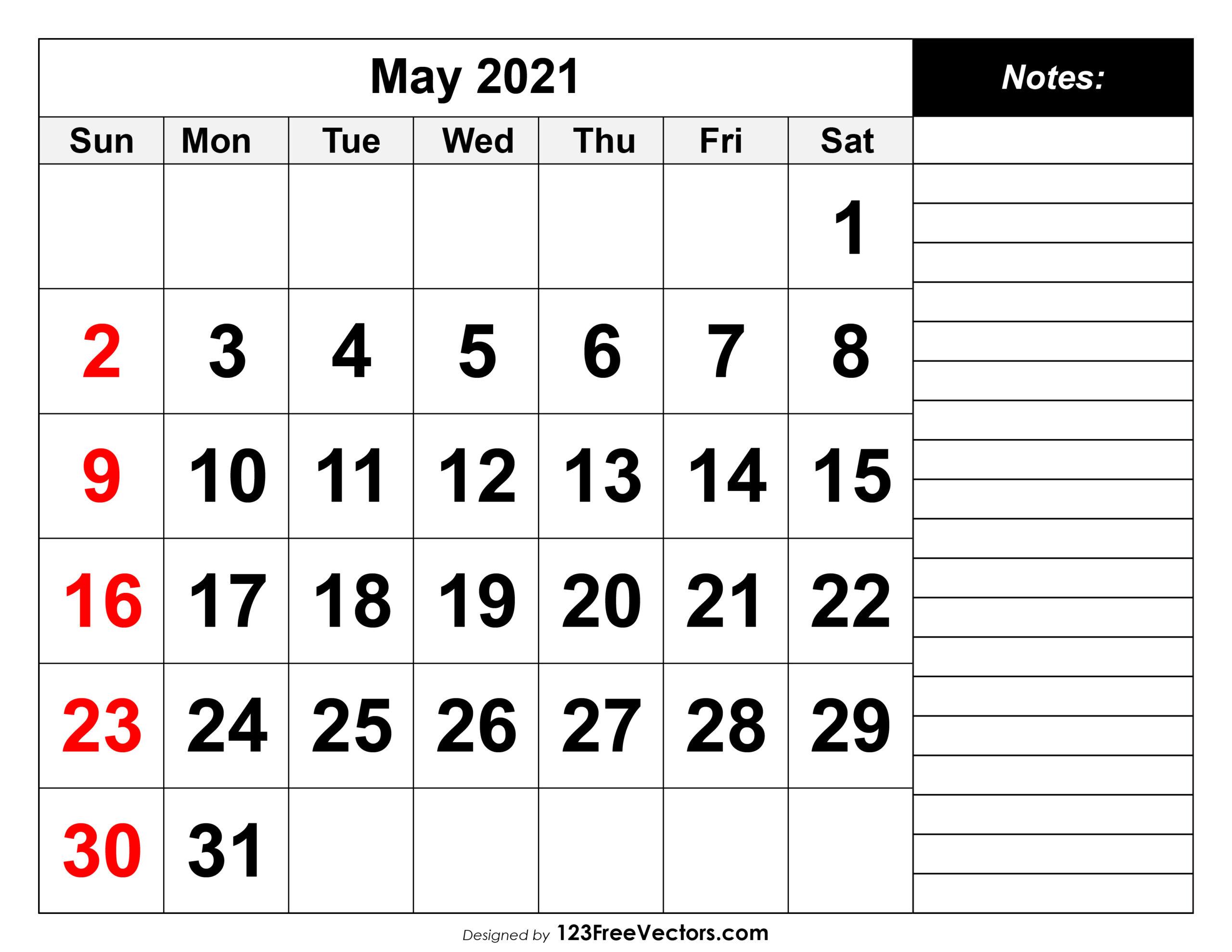Free May 2021 Printable Calendar