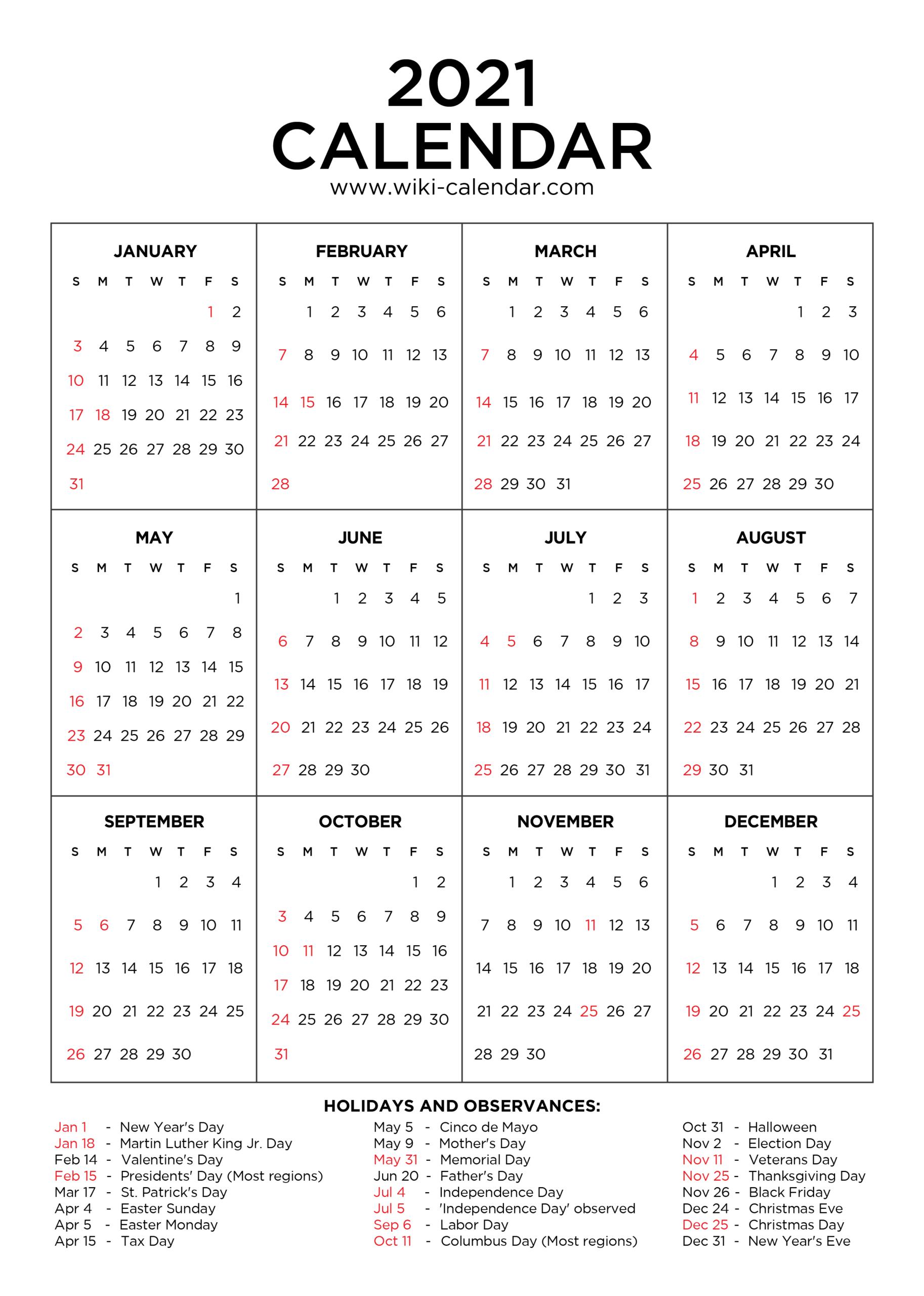 Free Printable 2021 Calendar With Holidays January Through December