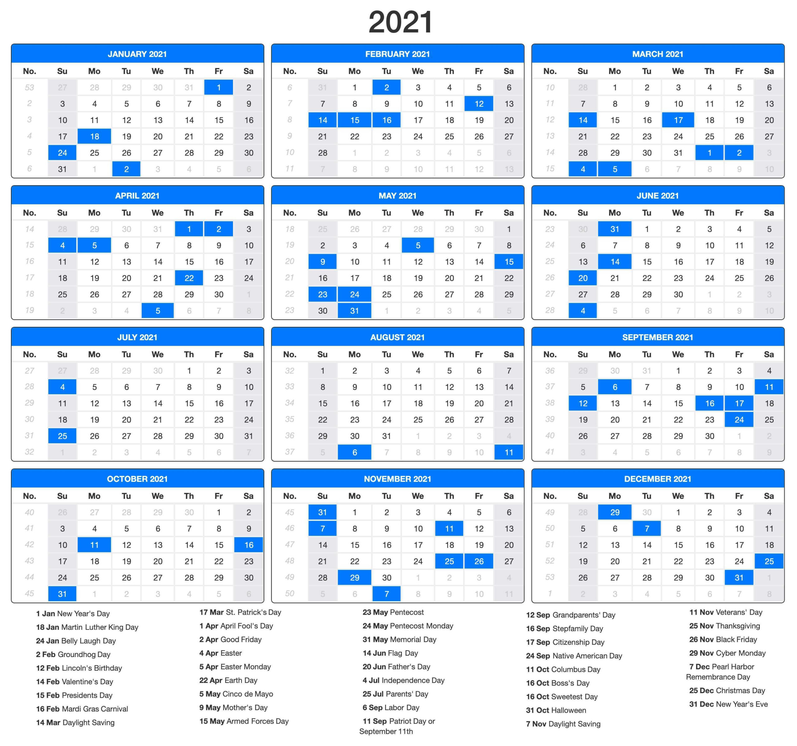 Free Printable 2021 Calendar With Holidays January Through December
