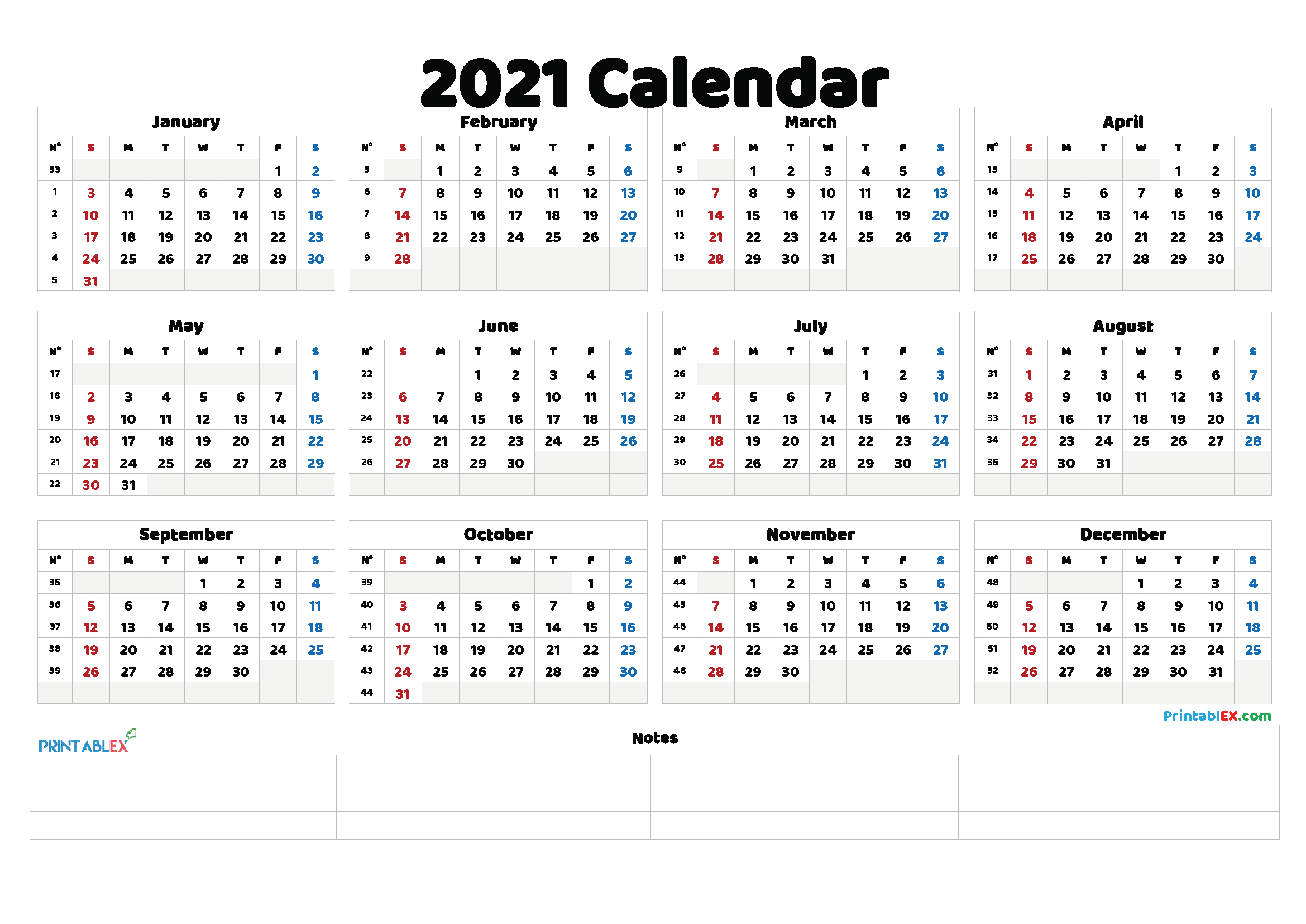 Free Printable 2021 Yearly Calendar - 21Ytw137