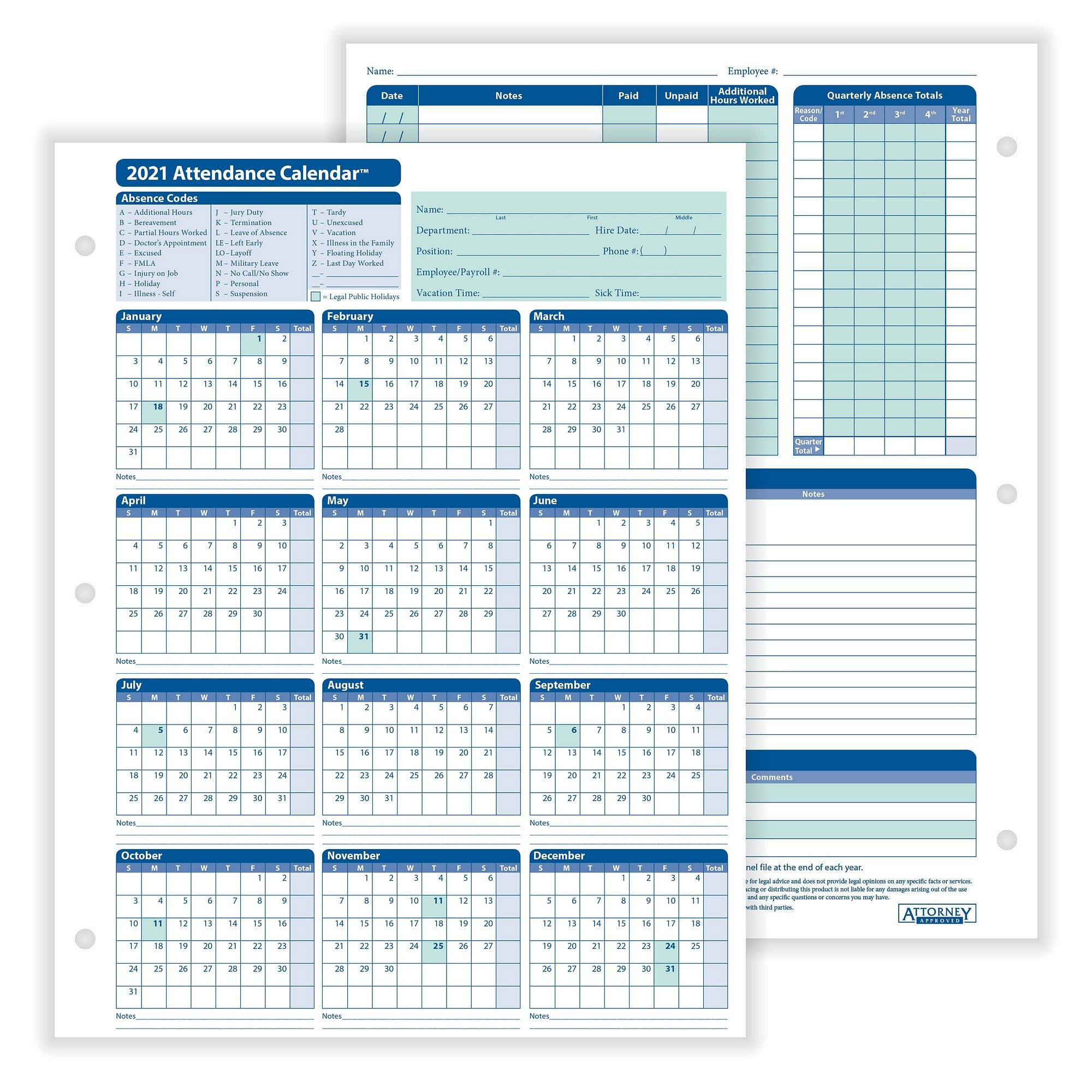 Free Printable Employee Attendance Calendars 2021