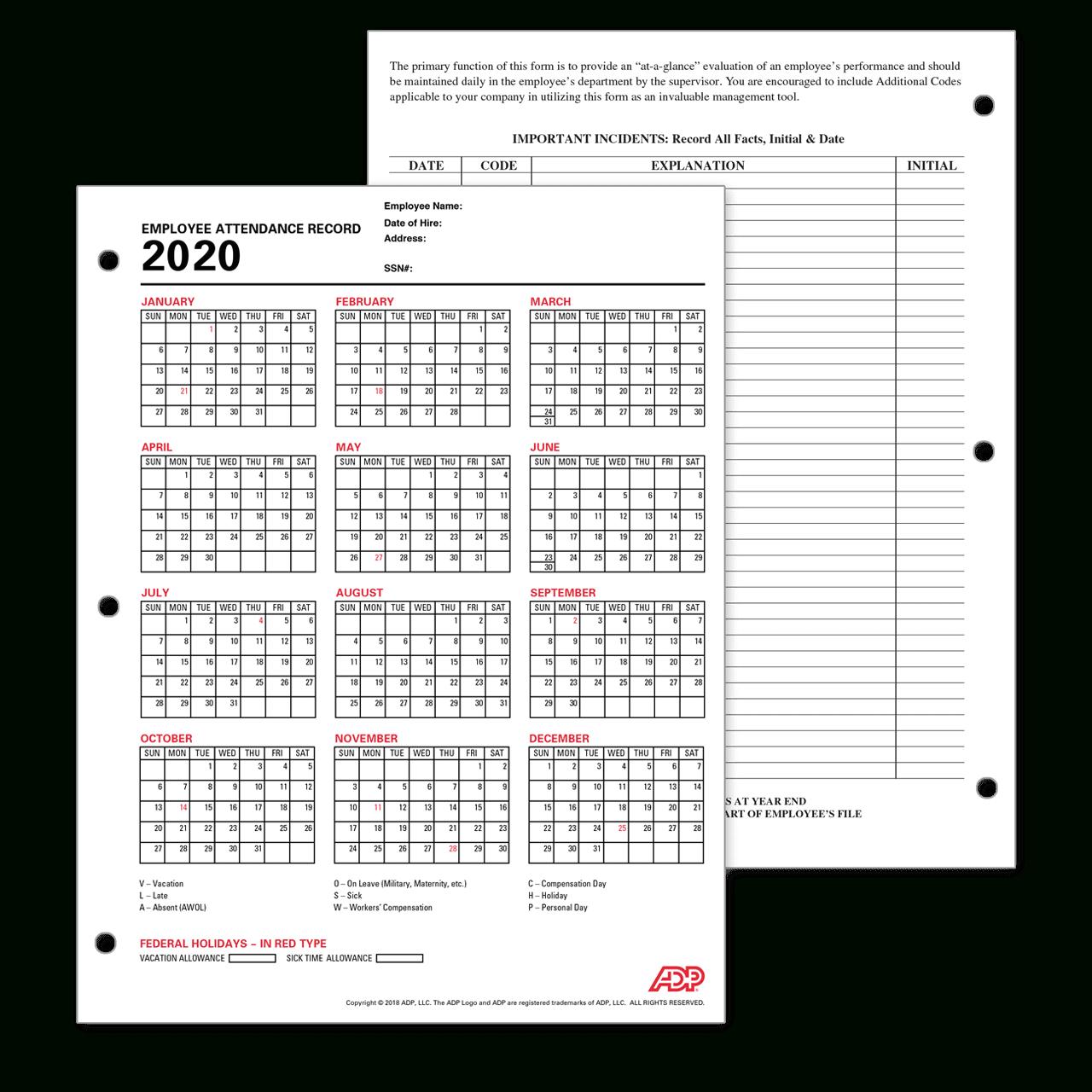 Free Printable Employee Attendance Calendars 2021