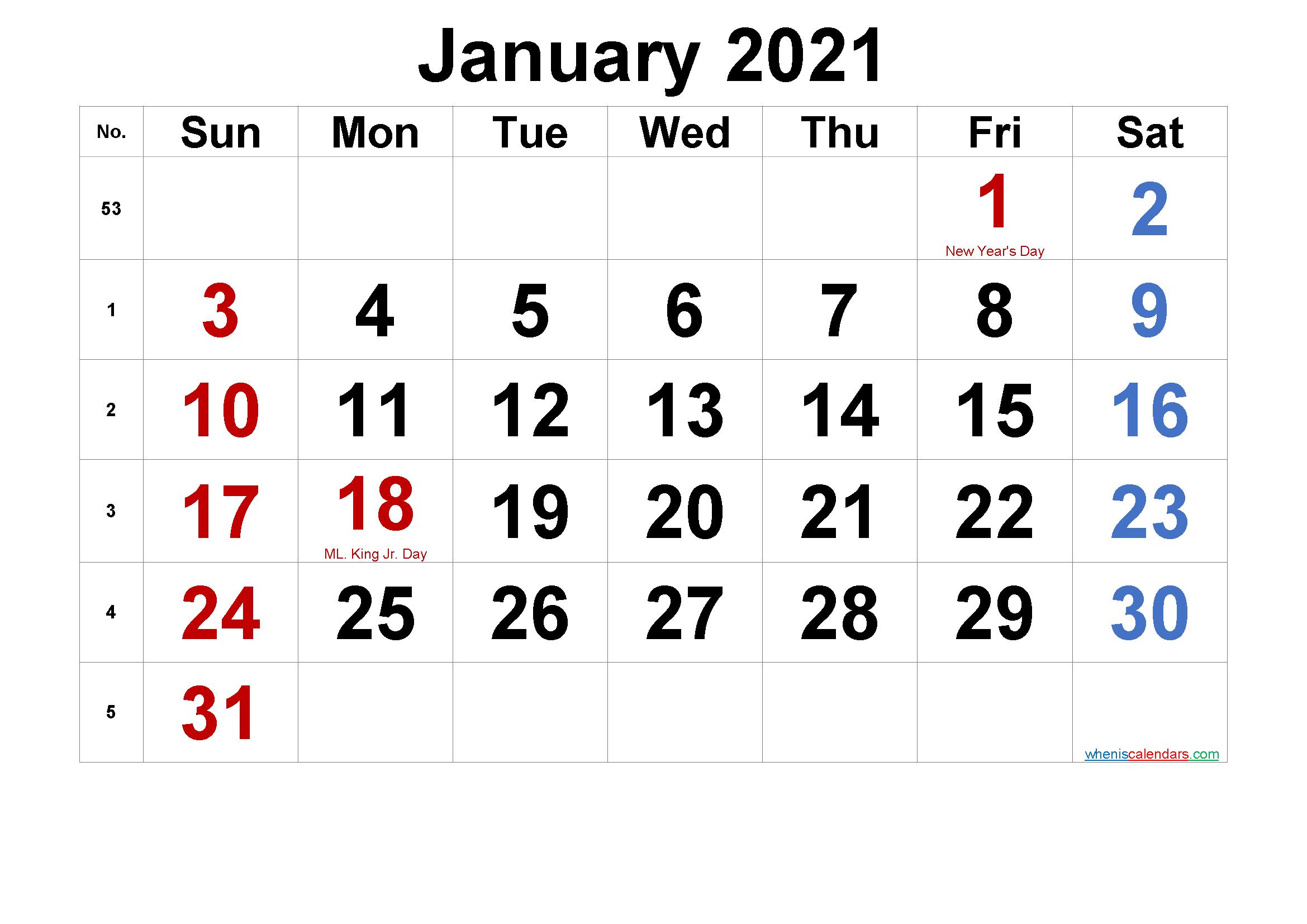 Free Printable January 2021 Calendar With Holidays