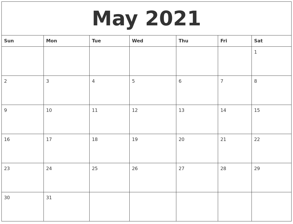 Free Printable Monthly Calendar 2021 Template