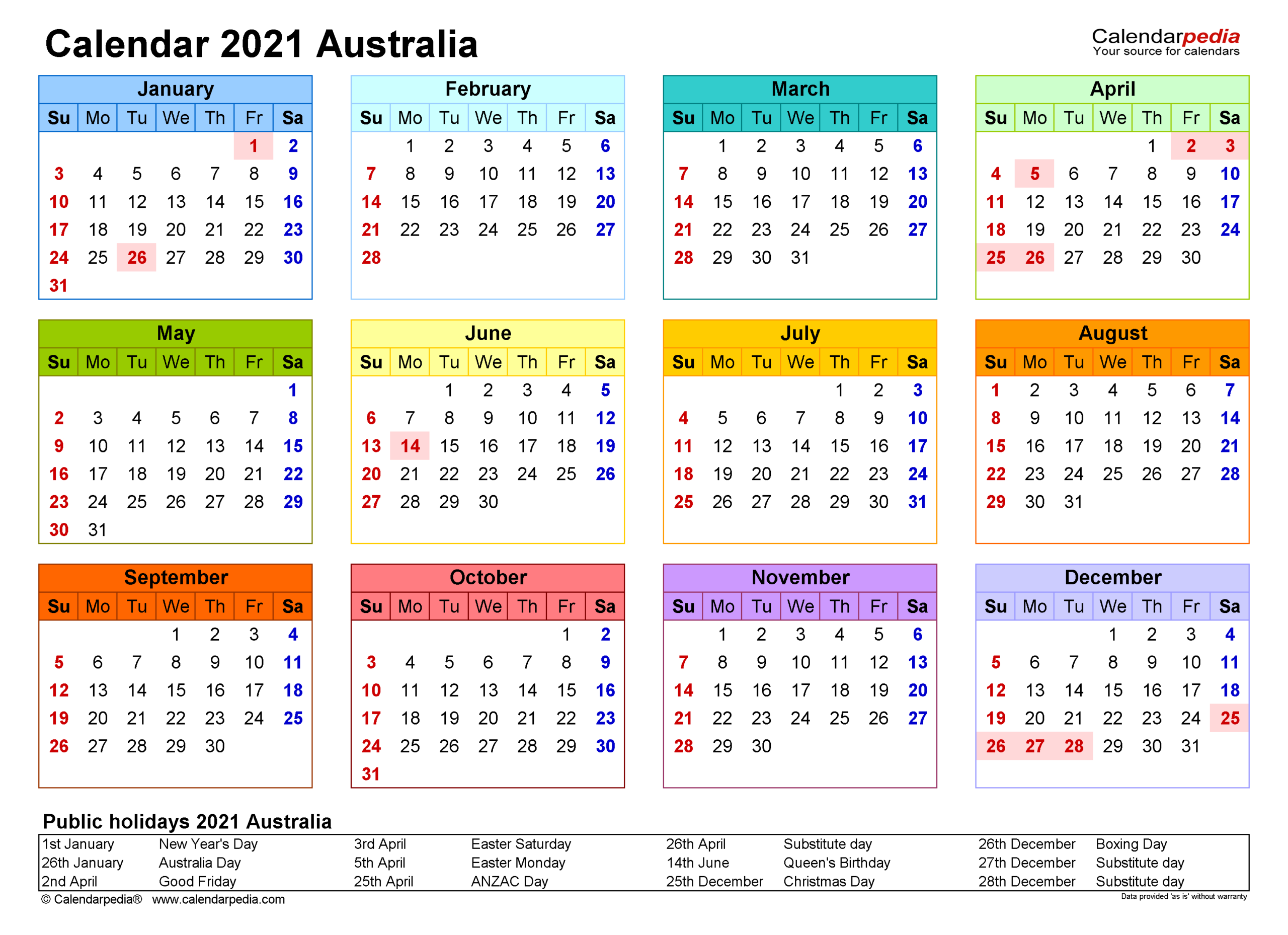 Full Year Printable 2021 Calendar