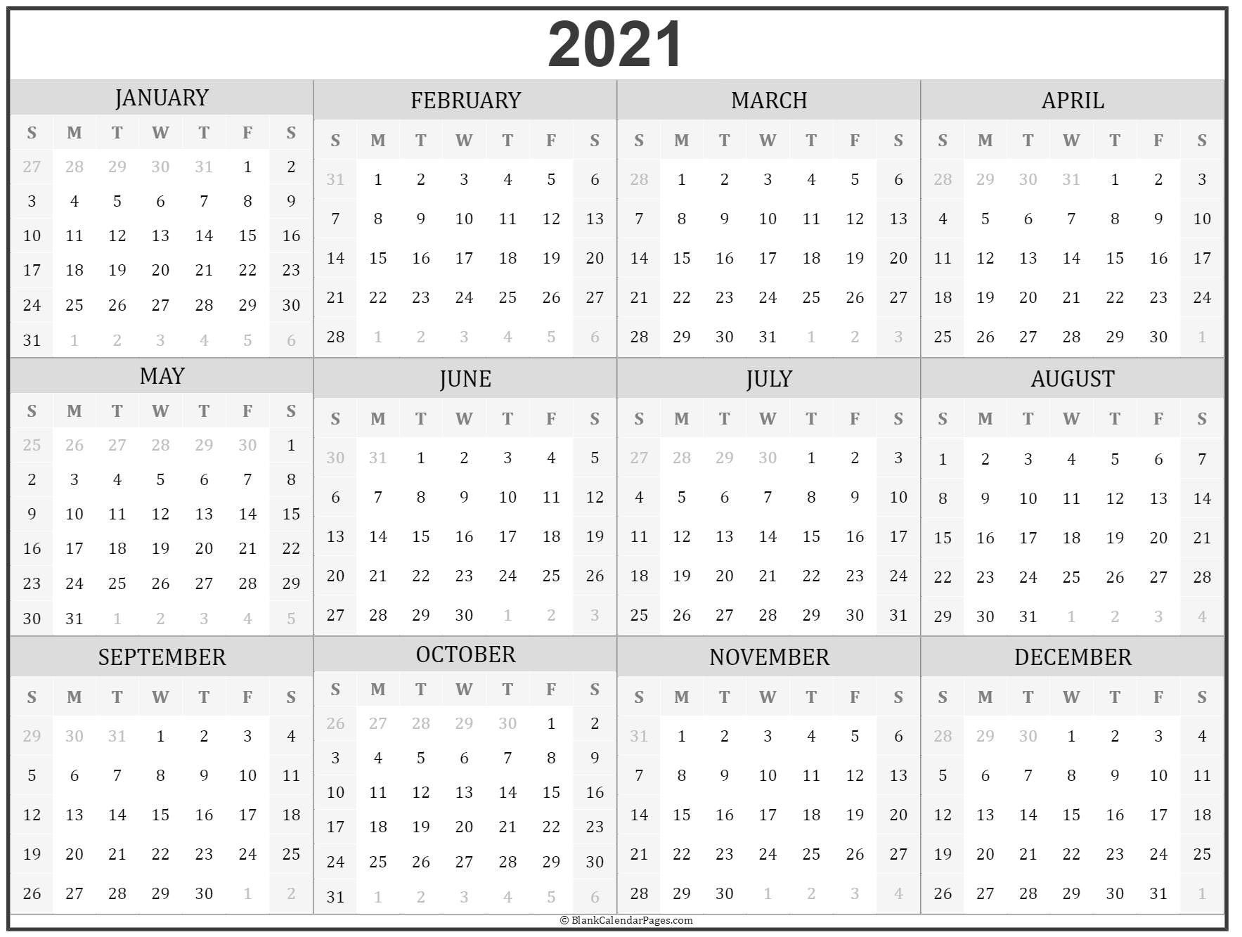 Full Year Printable 2021 Calendar