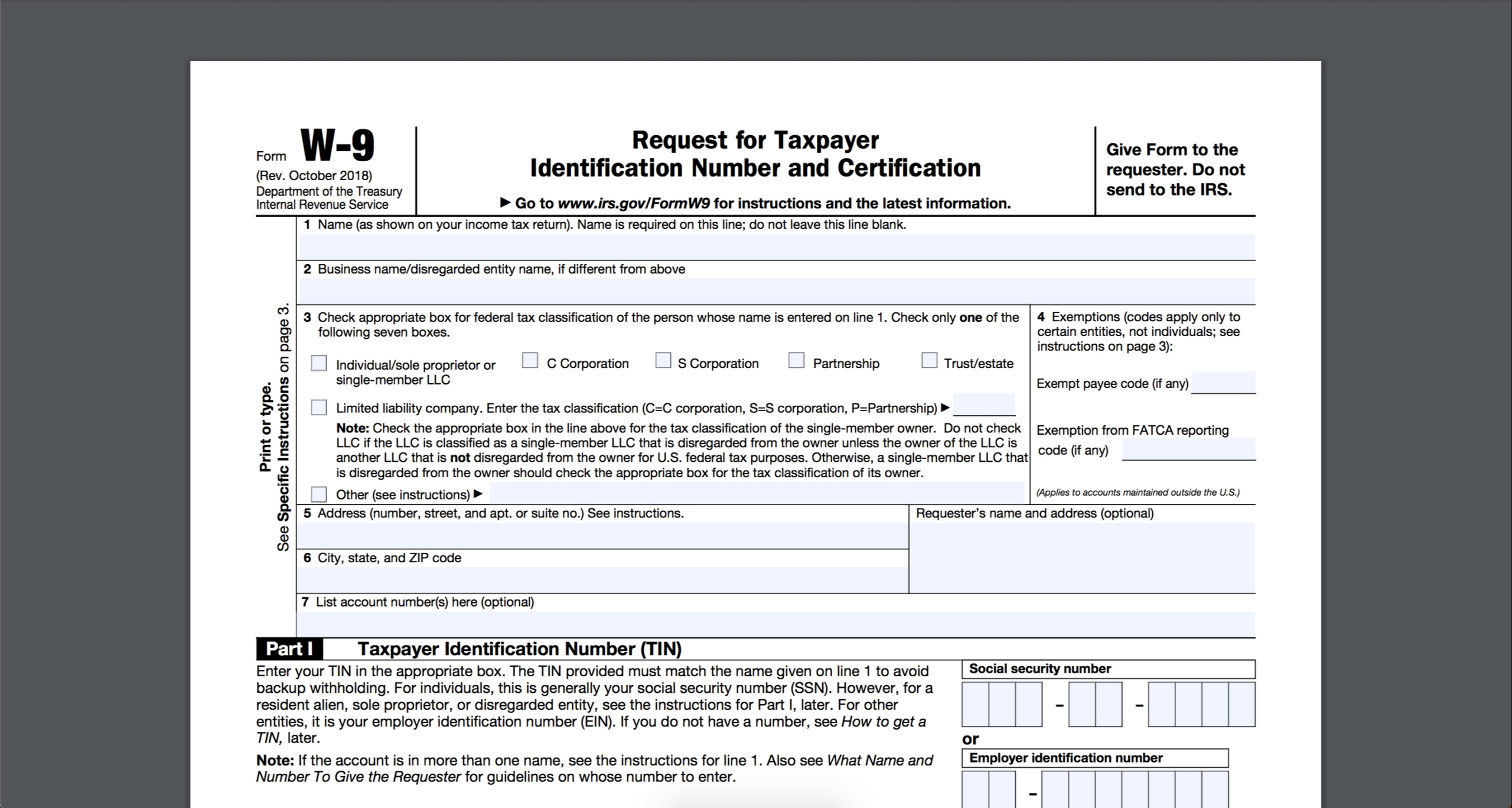 Irs W-9 Form 2021 Printable