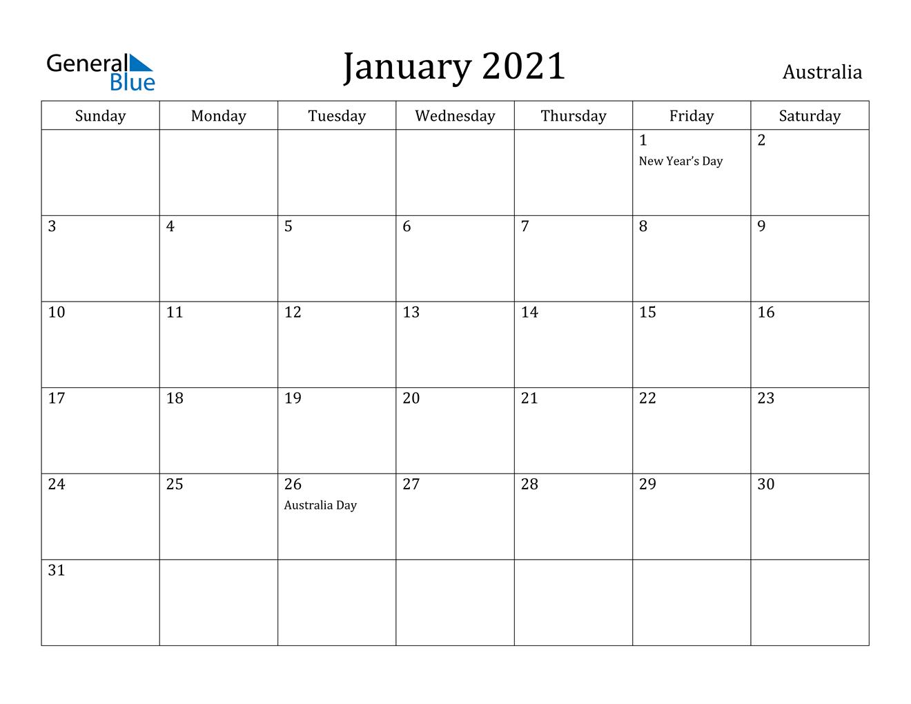 January 2021 Calendar - Australia