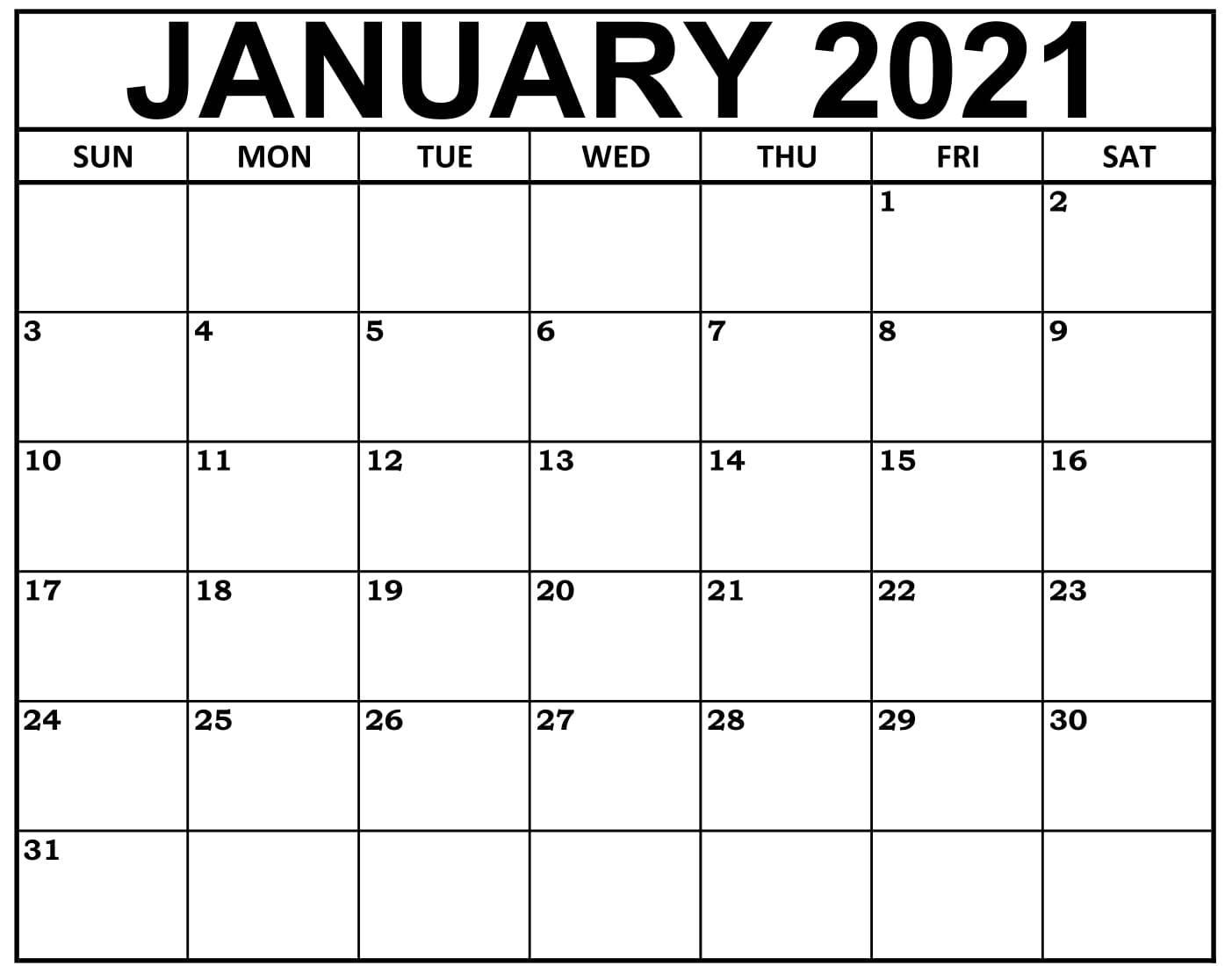 January 2021 Calendar Canada With National Holidays - Set