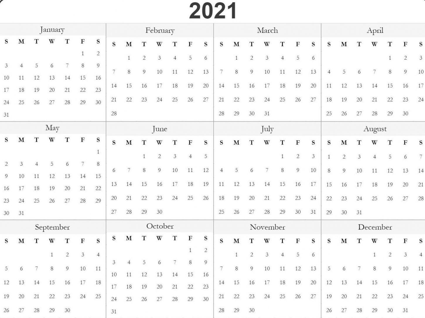 Julian Calendar 2021