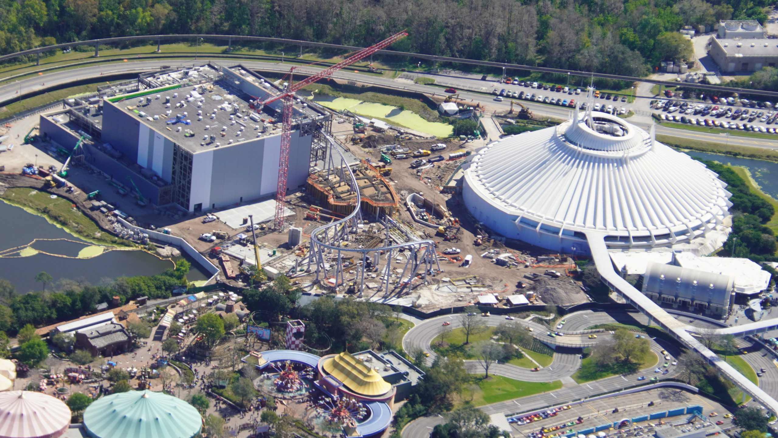 Latest Aerial Photos Of Tron Lightcycle Run Construction At