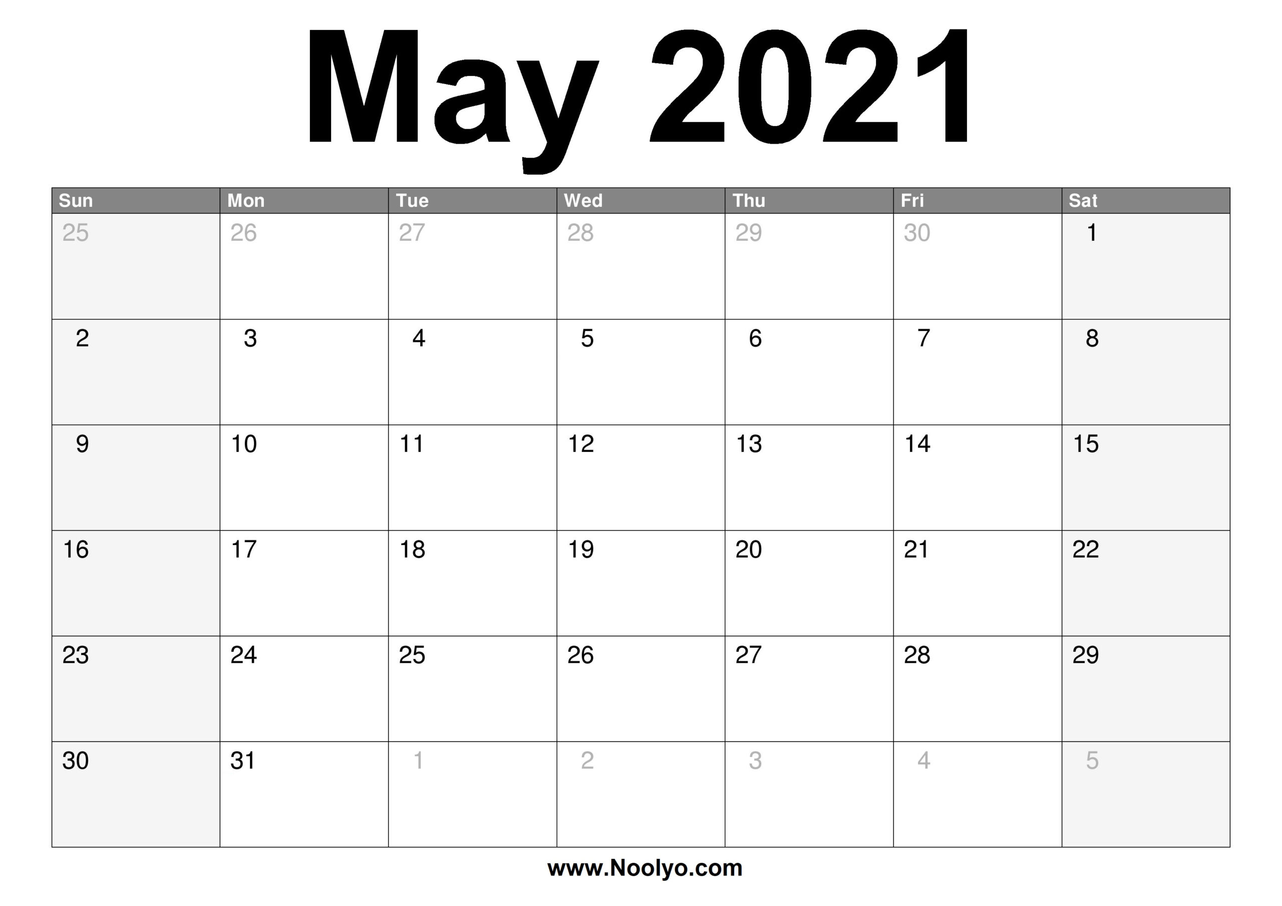May 2021 Calendar Printable – Free Download – Noolyo