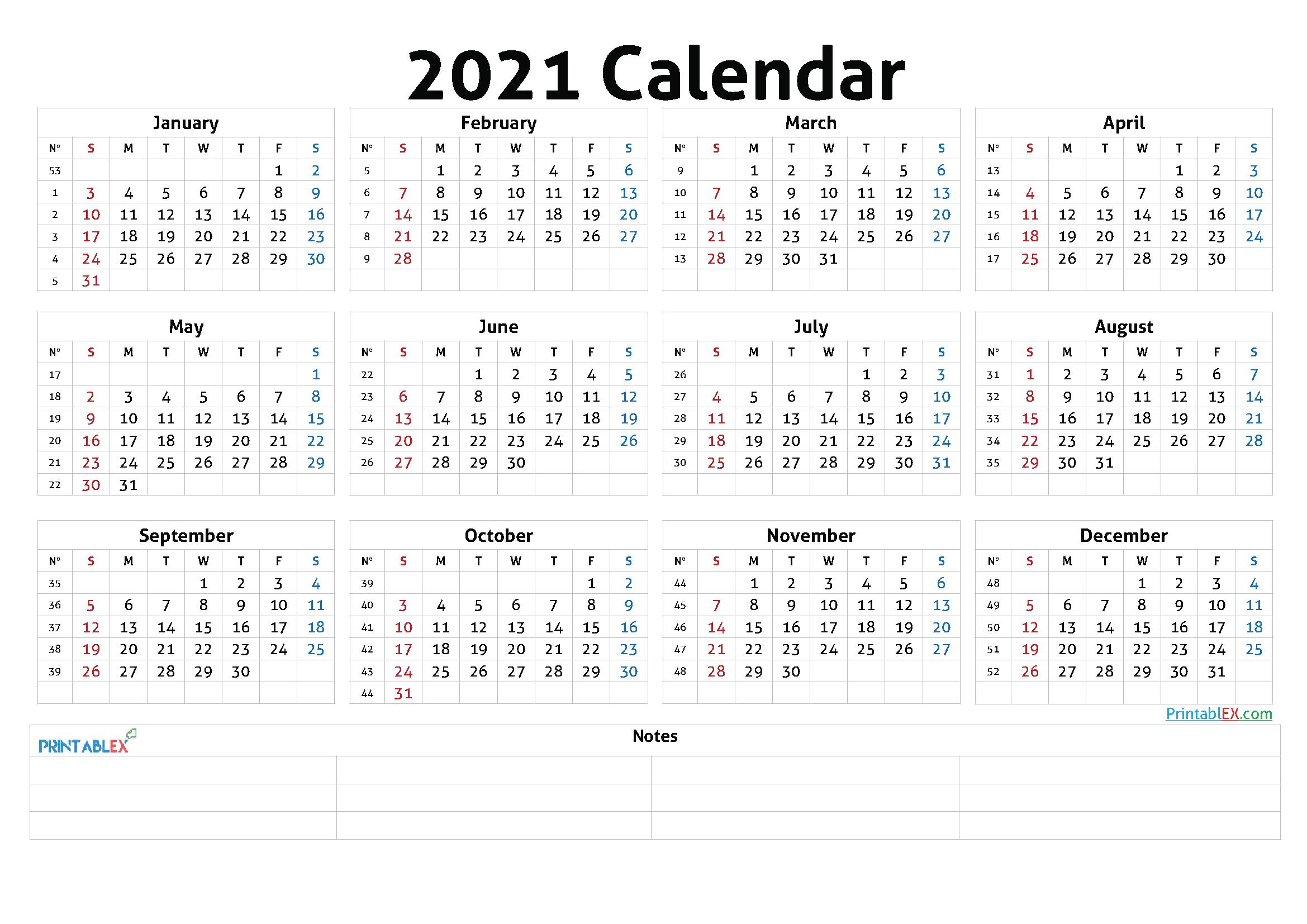 Printable 2021 Calendaryear