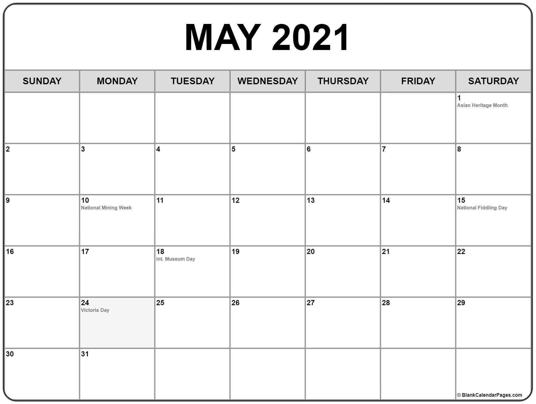 Printable 2021 Canadian Holiday Calendar