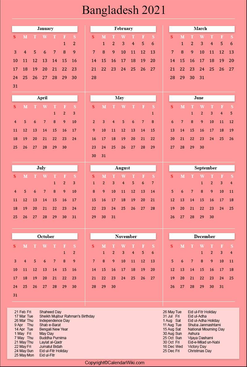 [%Printable Bangladesh Calendar 2021 With Holidays [Public|2021 Government Calendars|2021 Government Calendars%]