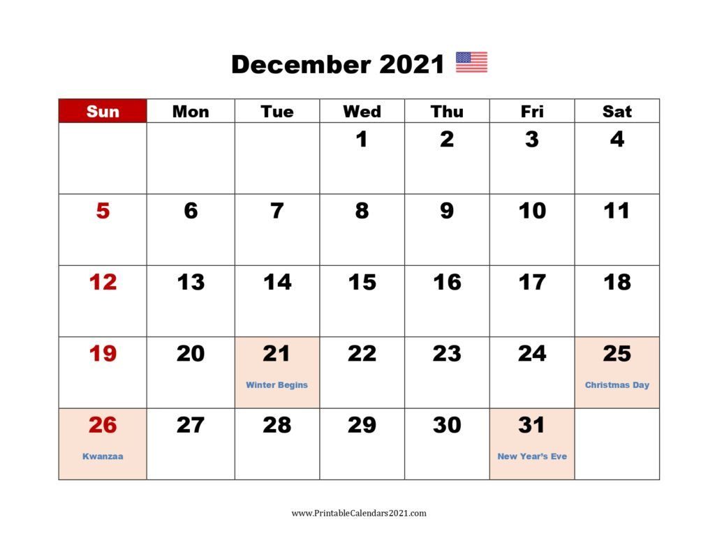 Printable Calendar December 2021, Printable 2021 Calendar