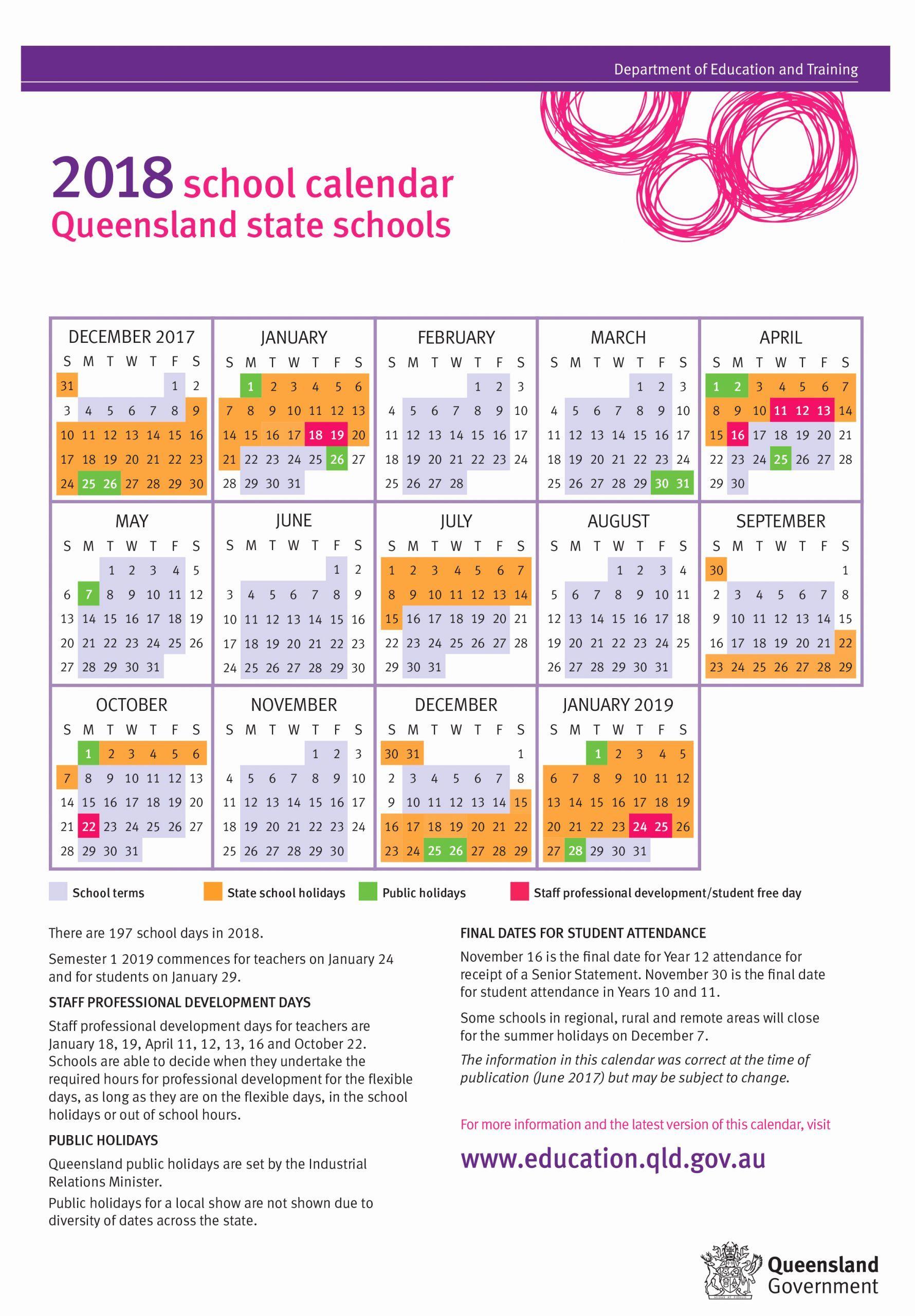 Printable Calendar Queensland 2019