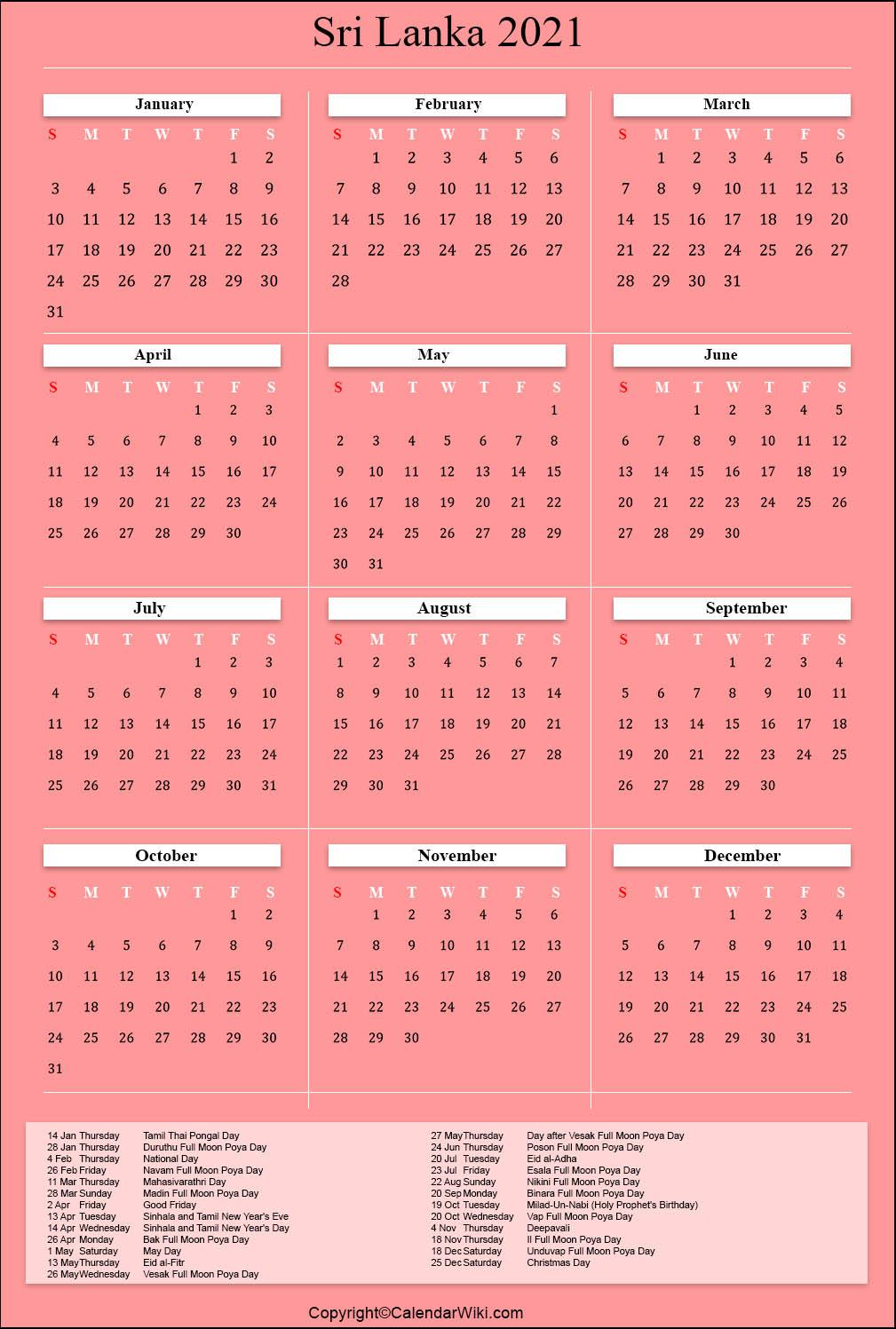 [%Printable Srilanka Calendar 2021 With Holidays [Public Holidays]|2021 Calendar With Holidays|2021 Calendar With Holidays%]