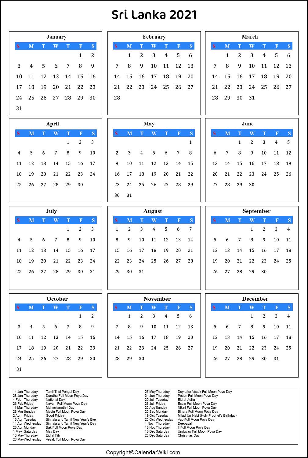 [%Printable Srilanka Calendar 2021 With Holidays [Public Holidays]|2021 Government Calendars|2021 Government Calendars%]